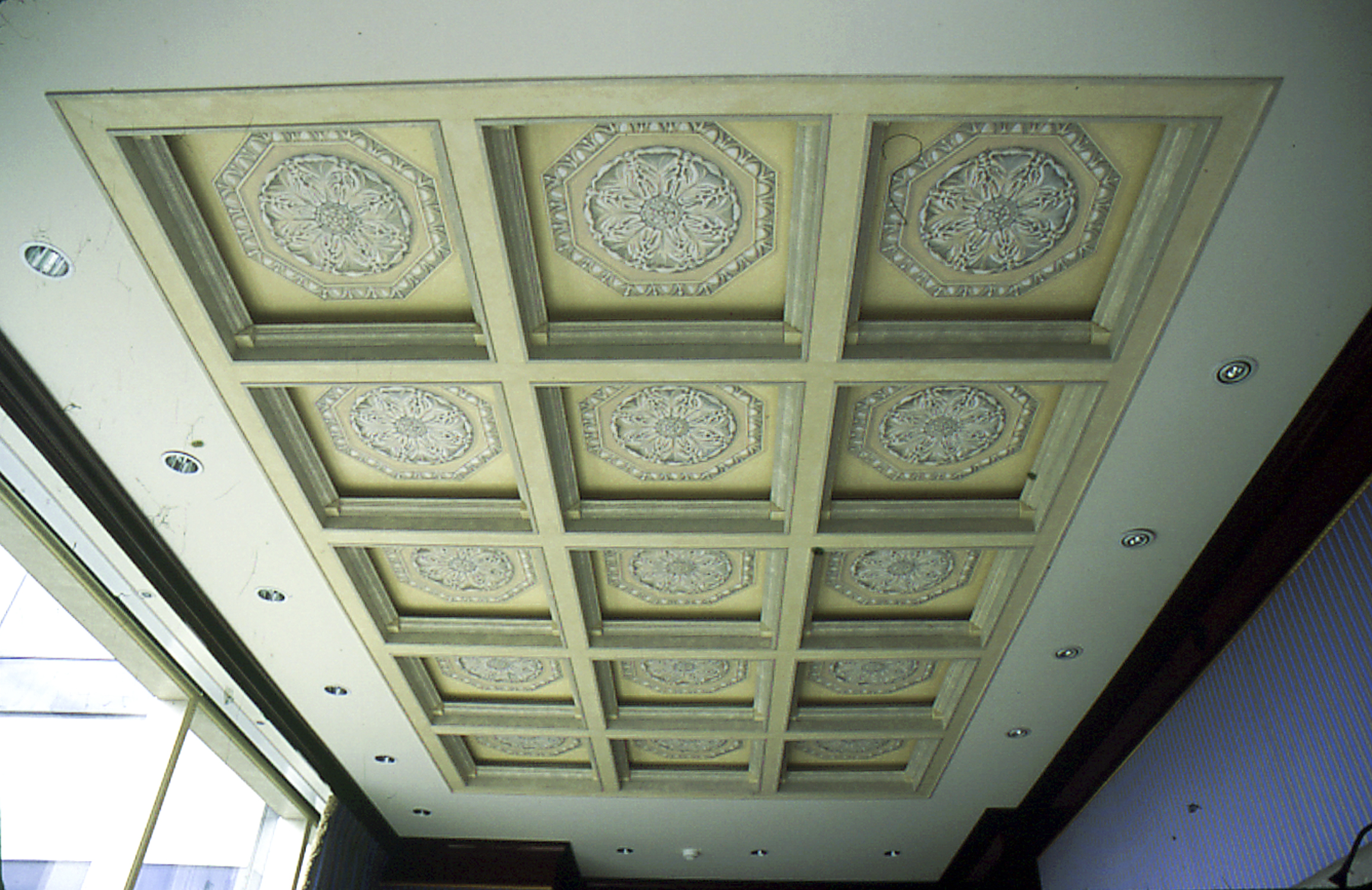 Coffered ceiling with trompe-l'œil painted rosettes, New York