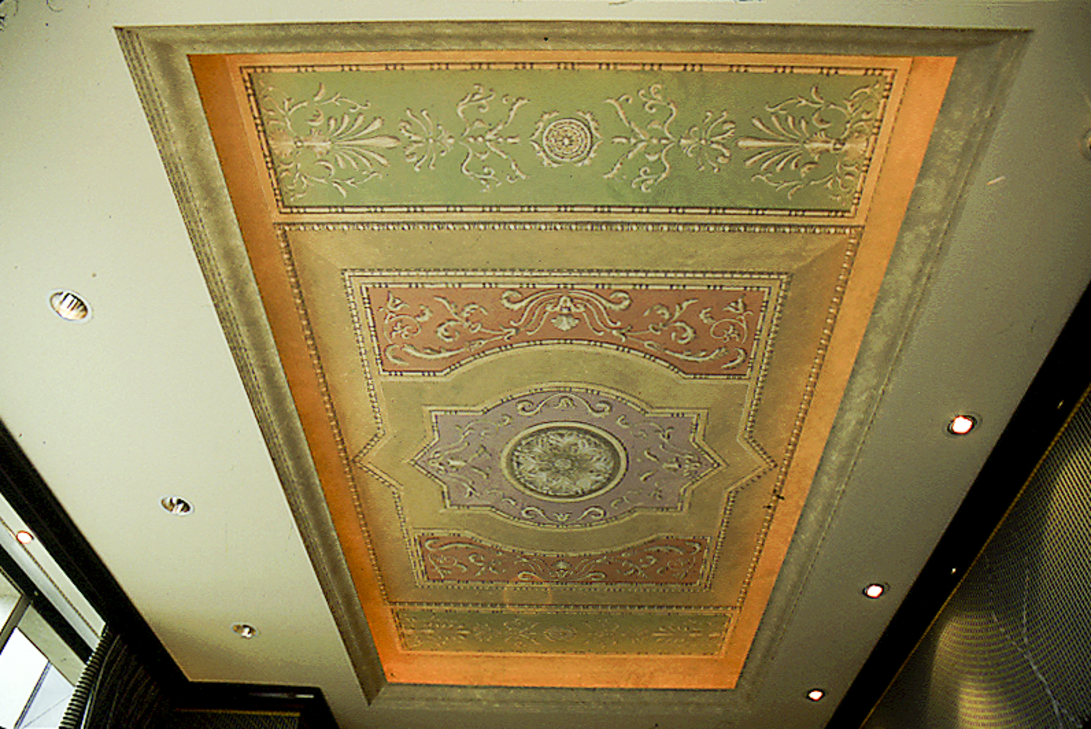 Trompe-l'œil painted recessed ceiling, New York