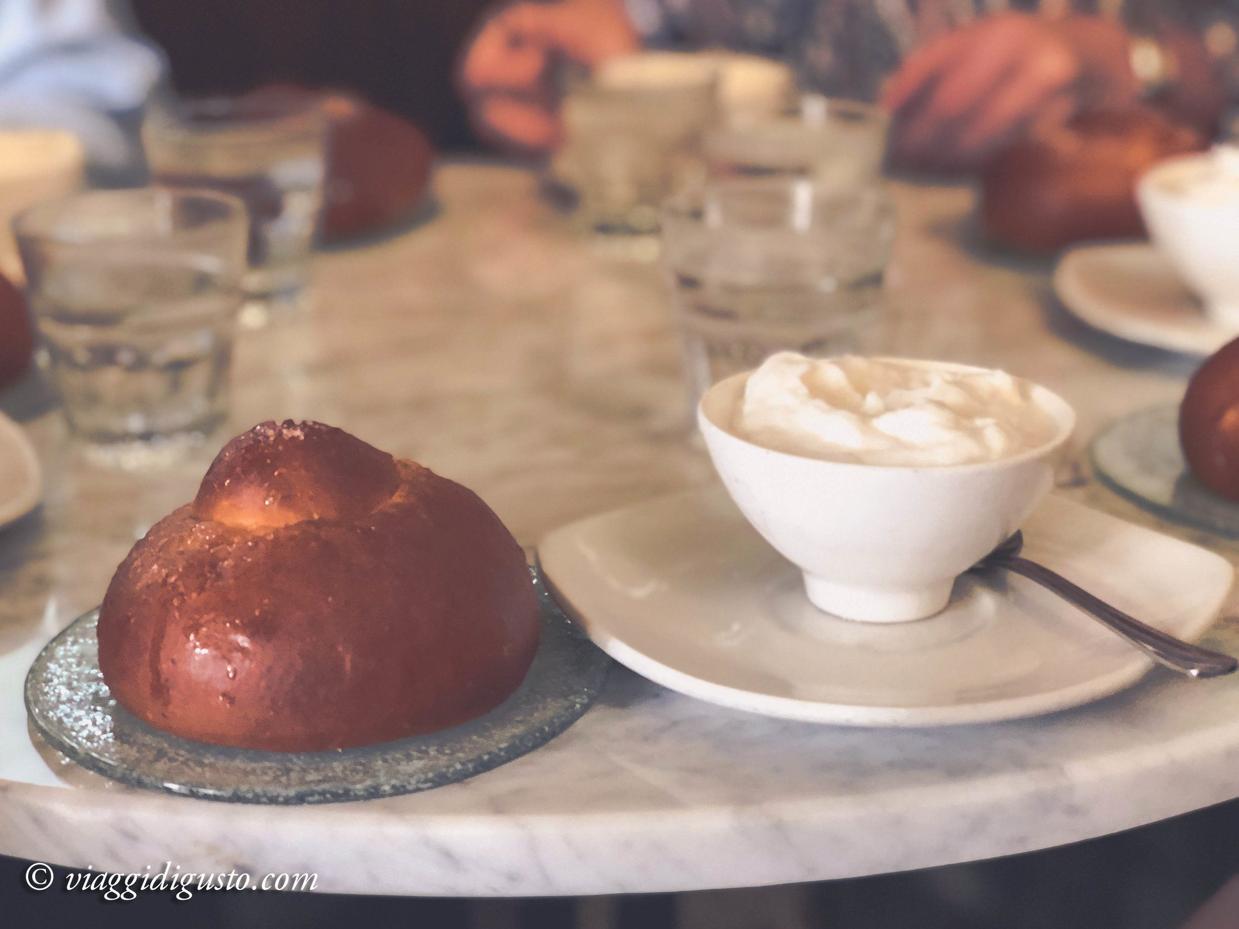 Almond granita and brioche. Caffe Sicilia.