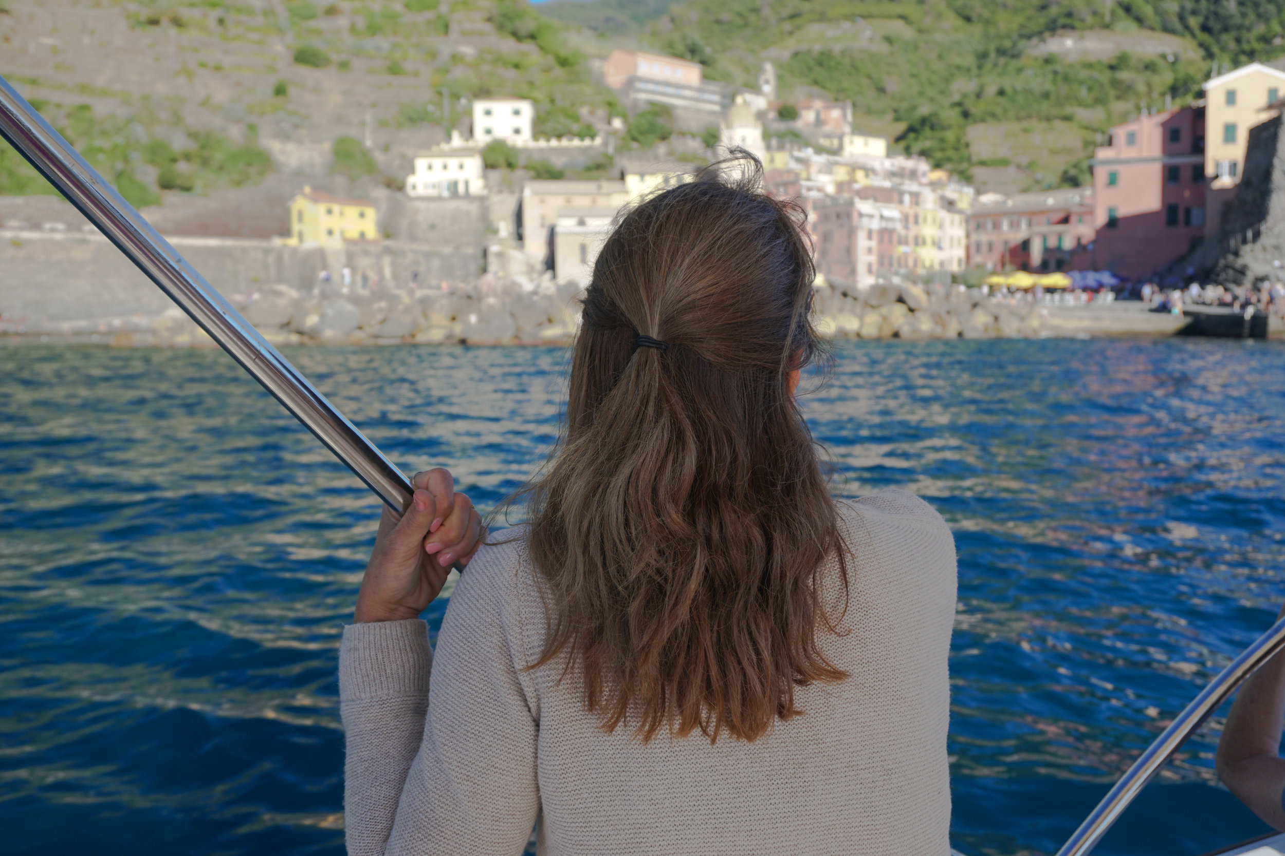 view of picturesque vernazza, (cinque terre) from the ligurian sea