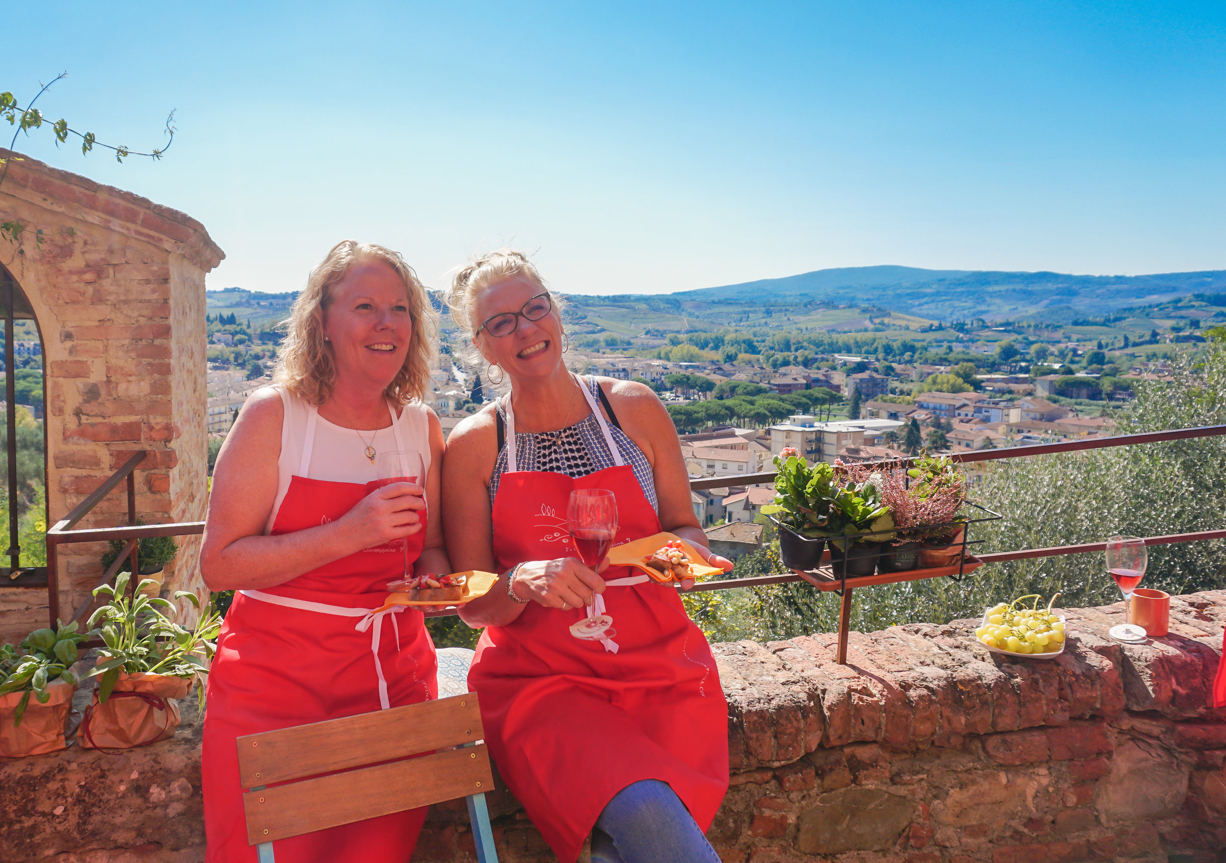 A break from cooking class with a view of the tuscan countryside. A VIEW LIKE THIS WOULD INSPIRE ANYONE TO COOK FABULOUS TUSCAN FOOD!