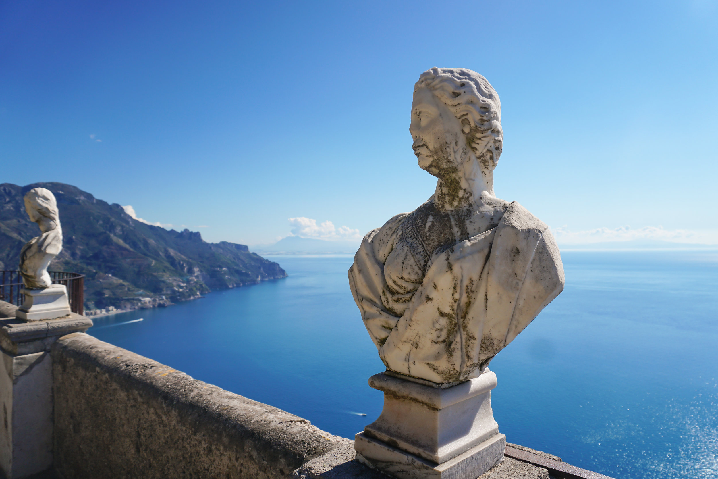 stunning views of the Mediterranean and the dramatic coastline below from villa cimbrone, ravello