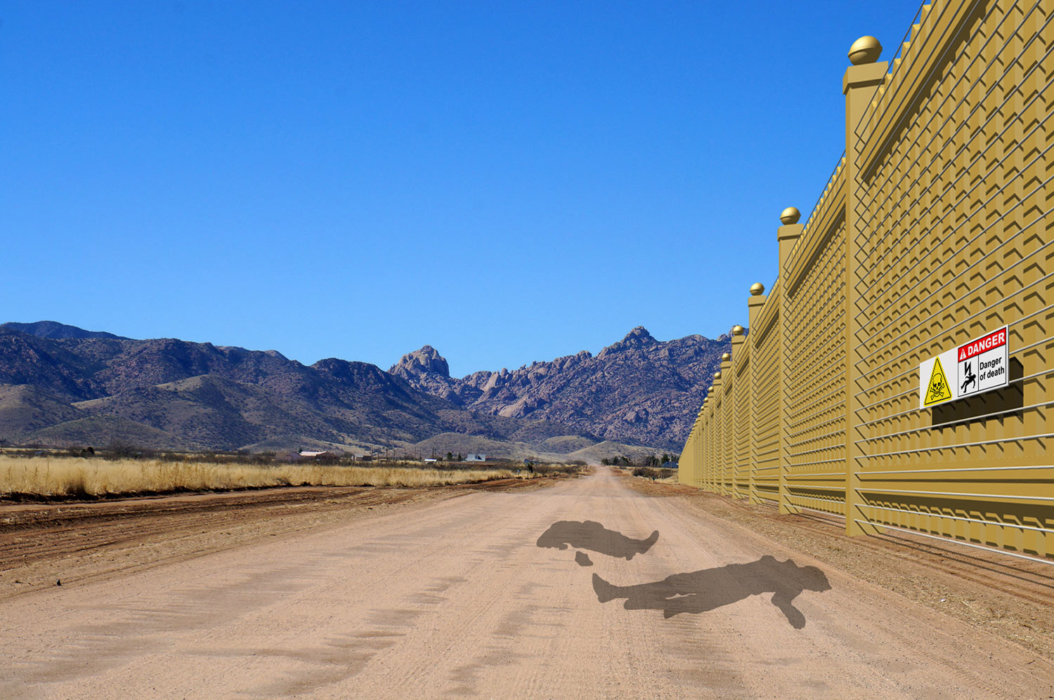 """Mexican side of border wall"""" - electrified side"""