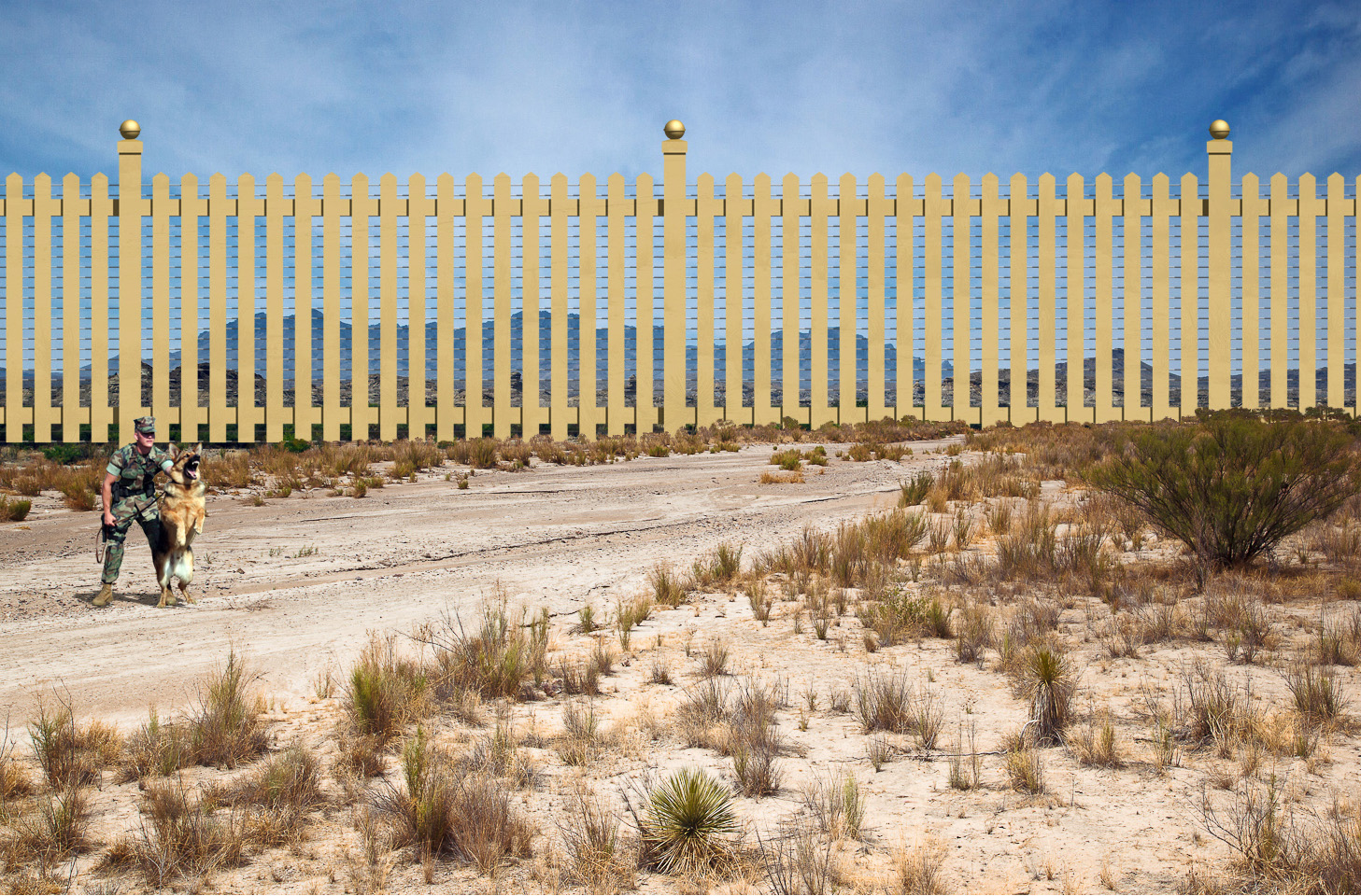 """U.S. side of border wall"""" - gold and shiny"""