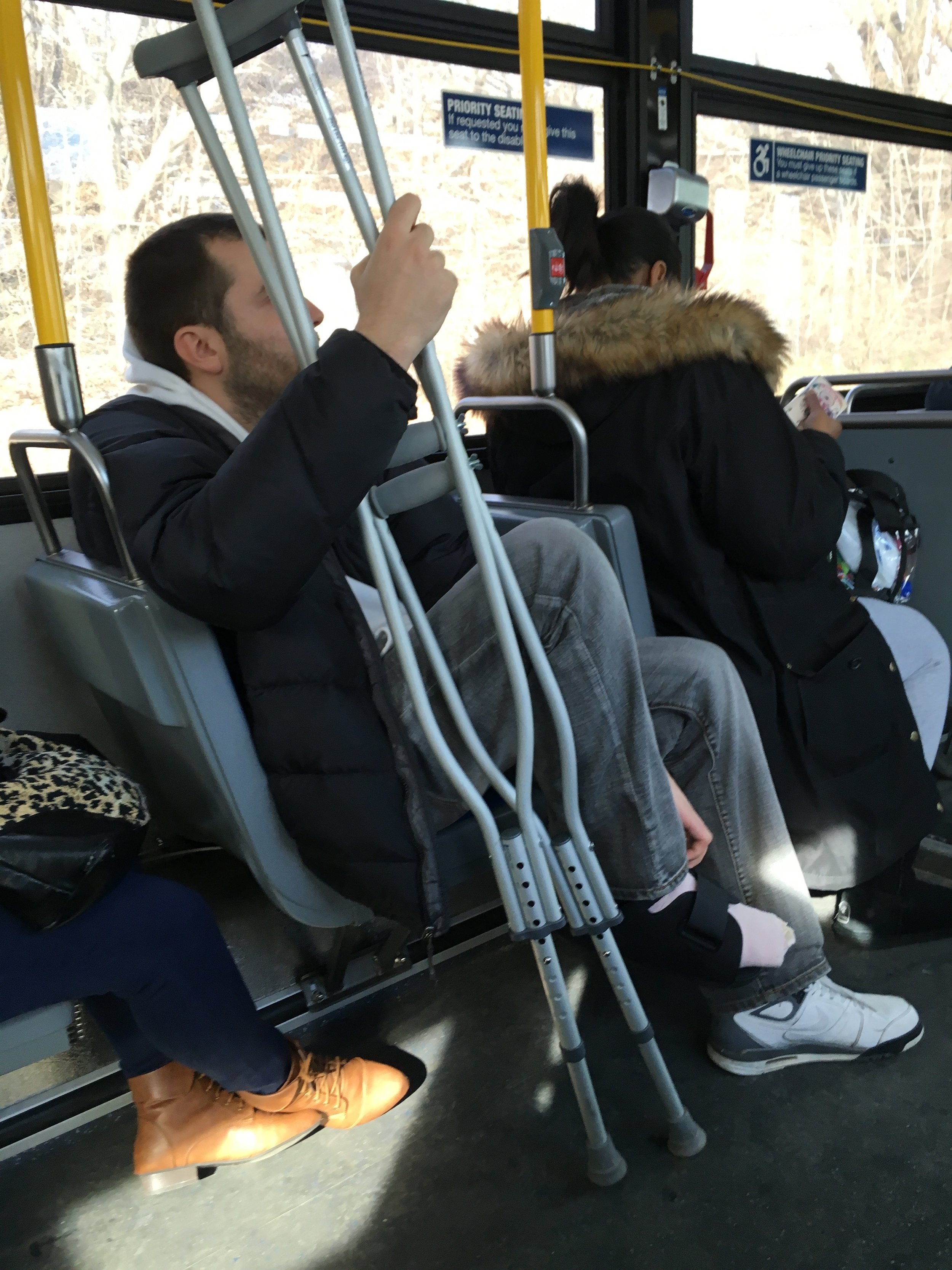 Anton on the bus to Rikers.