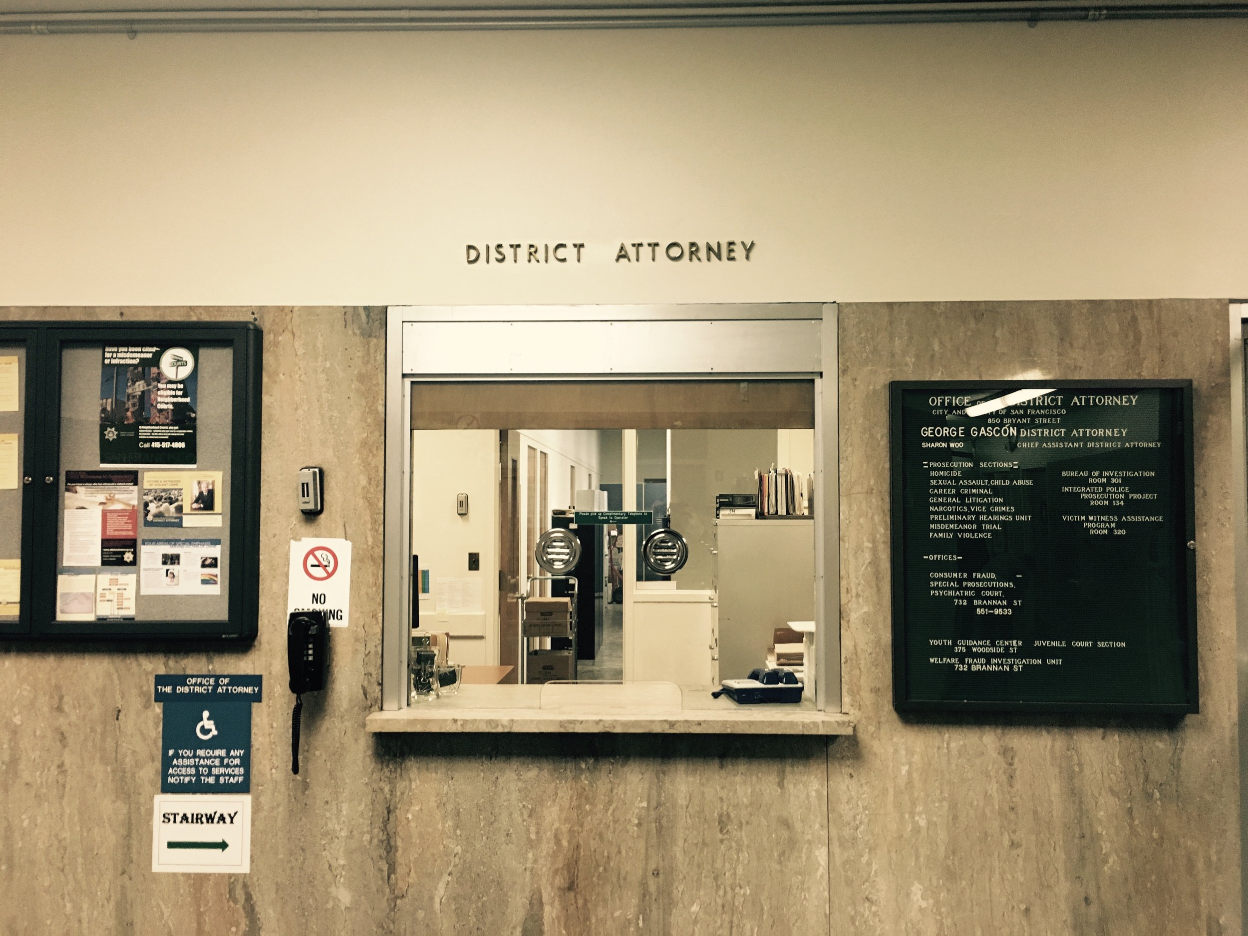 District Attorney George Gascon's office. San Francisco, CA.