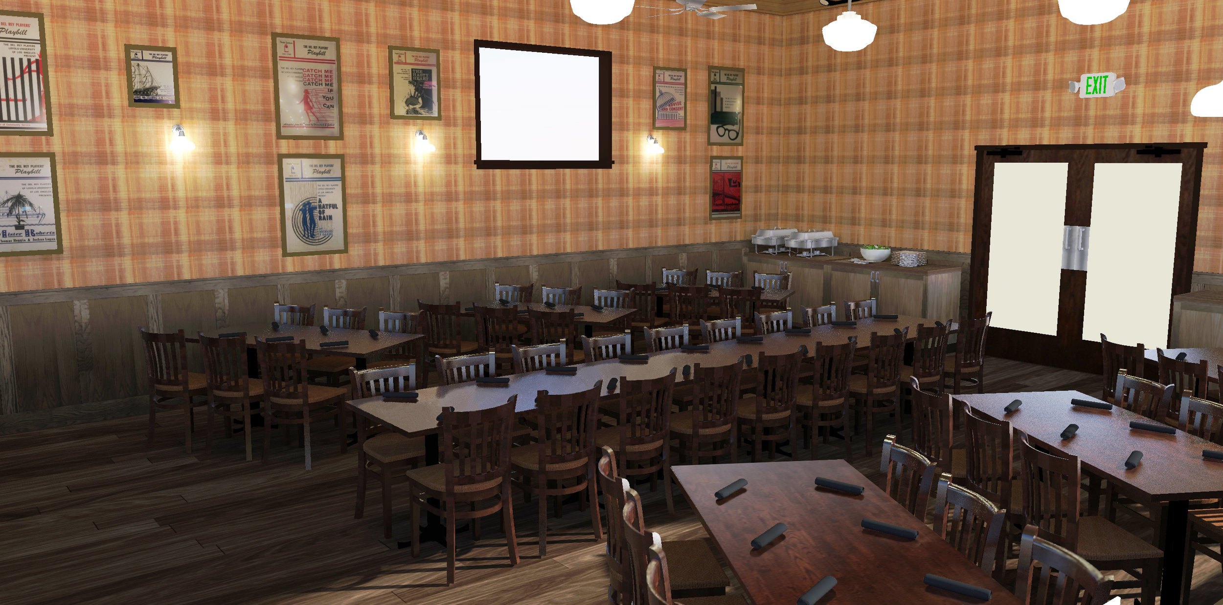 Truxton's American Bistro - Westchester - I reproduced Truxton's private dining room in a 3D modeling software for their website.
