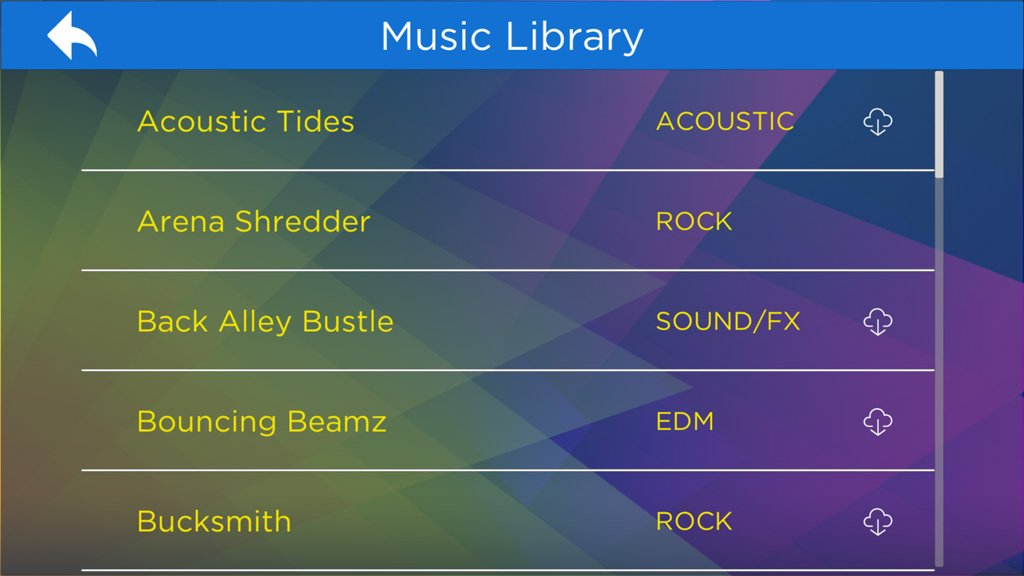 The first time you play, you'll go through a quick tutorial. Just click the music library to scroll through the song options. You can download the songs you want by clicking the cloud download icon. 25 songs are available for free, but head to the Shop to purchase additional content, added each month!