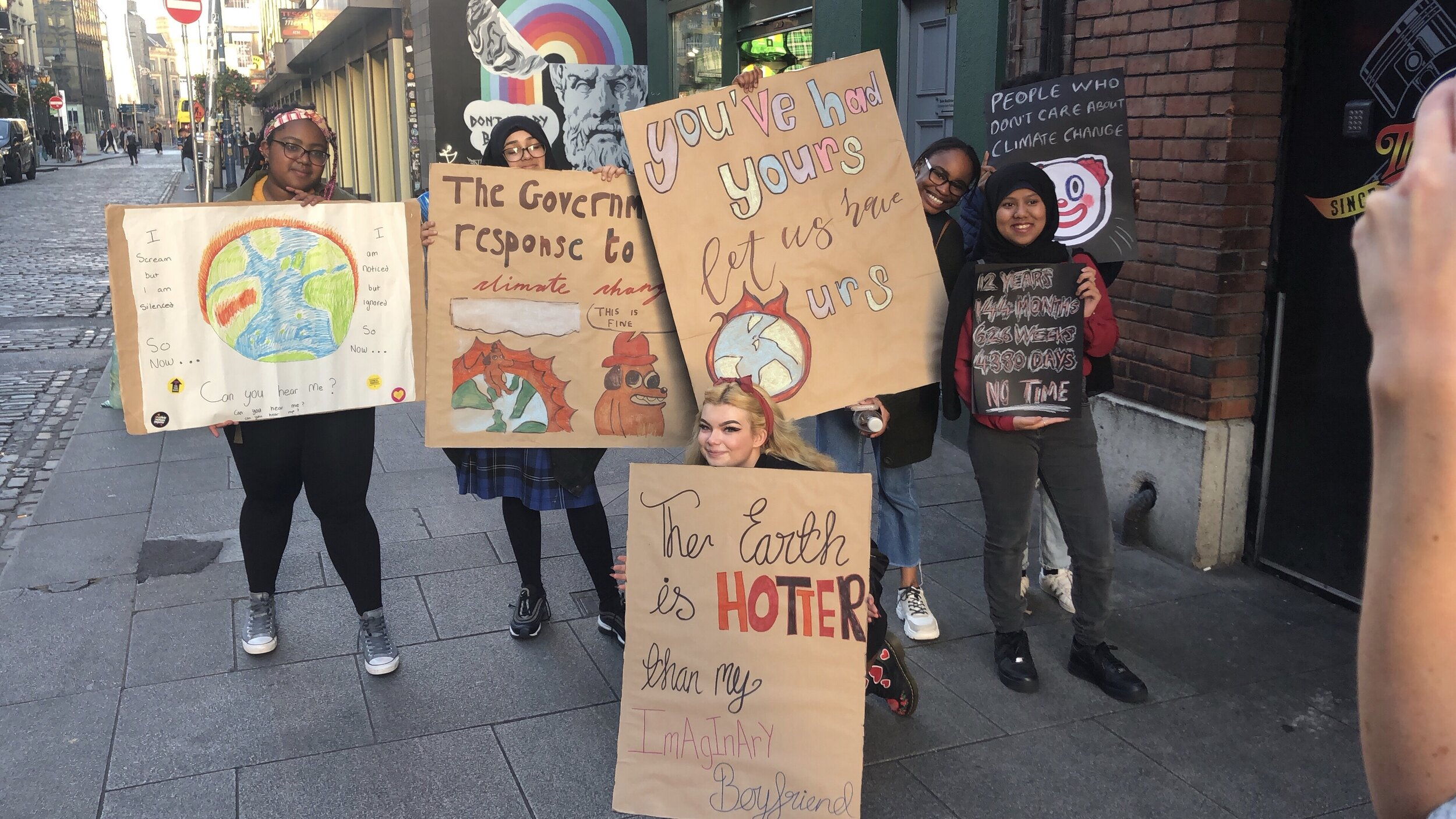 Students went into Amnesty International in Temple Bar to design placards after school for the global climate change protest on Friday, which they will attend. Students were inspired by Greta Thunberg and the Fridays for Future movement.