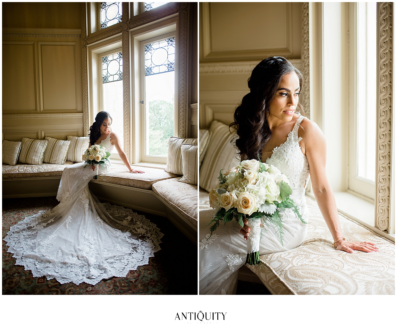 beautiful bride on staircase at cairnwood estate