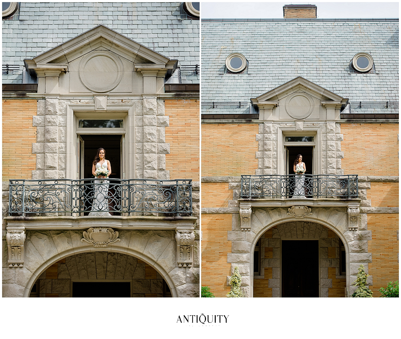 bride on balcony at cairnwood estate