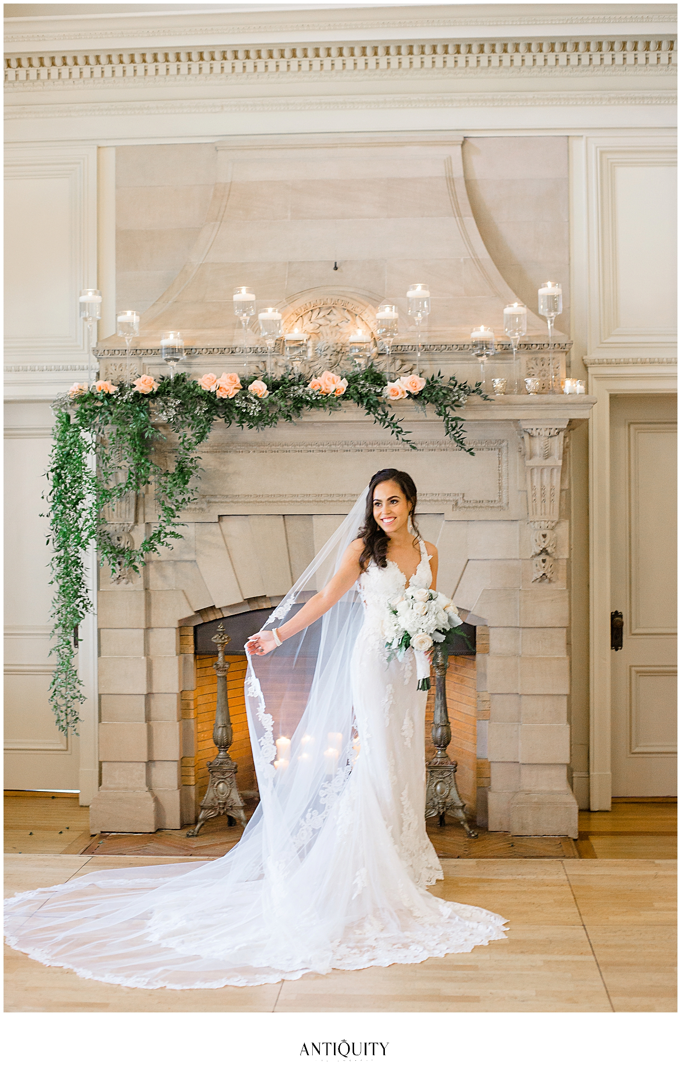 bride in front of fireplace at cairnwood estate