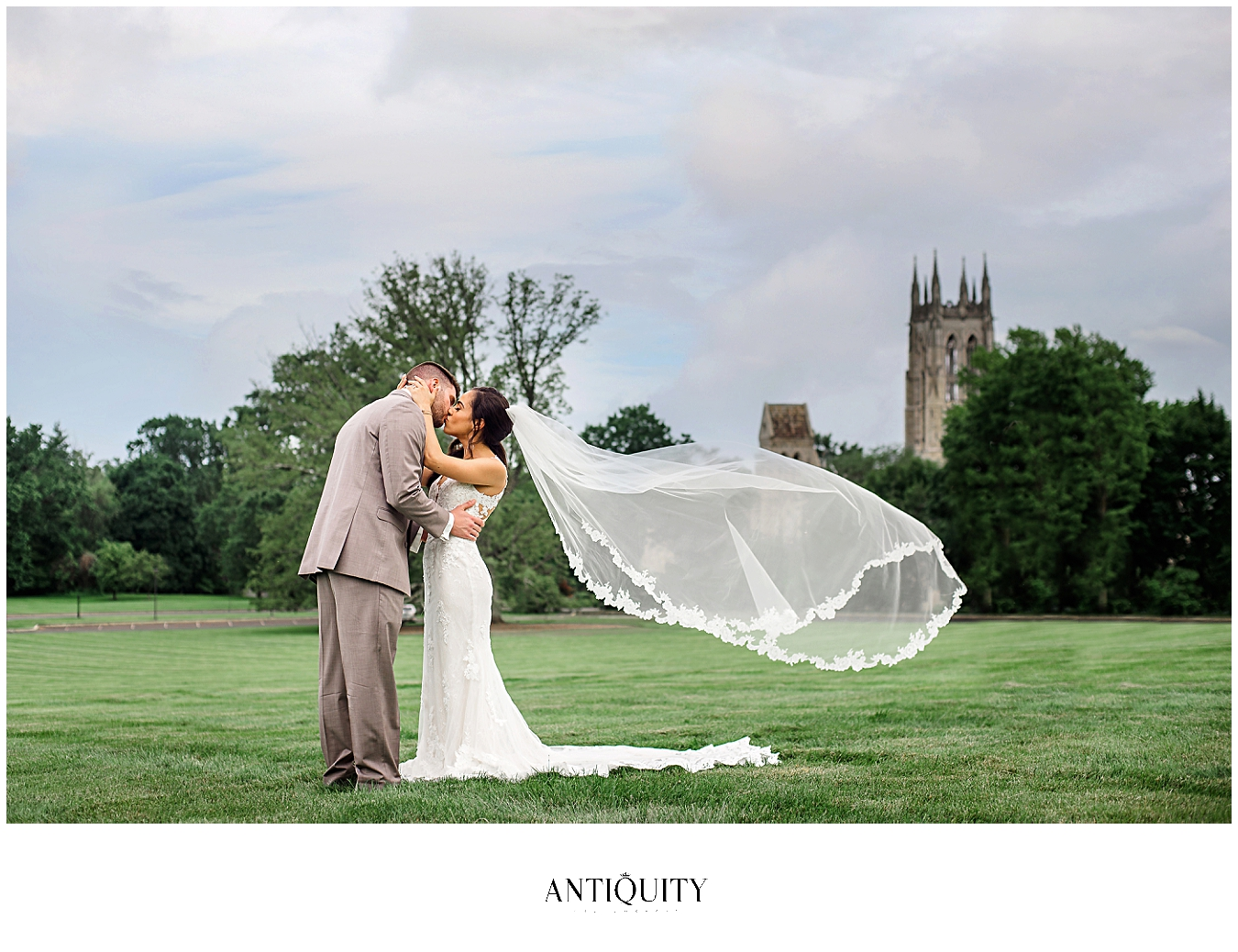 bride and groom at cathedral at cairnwood estate