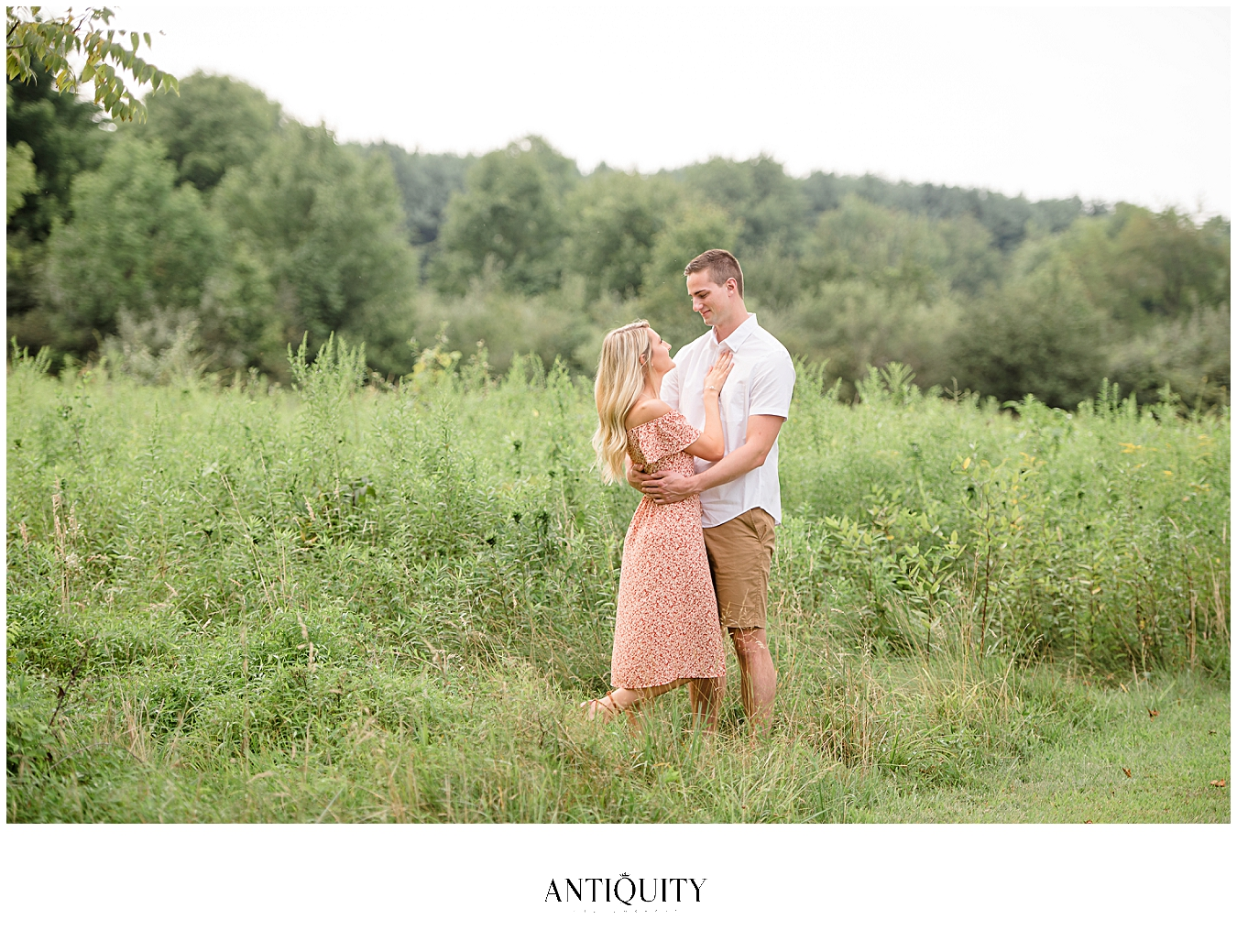 engaged couple at the Montour preserve for their engagement session