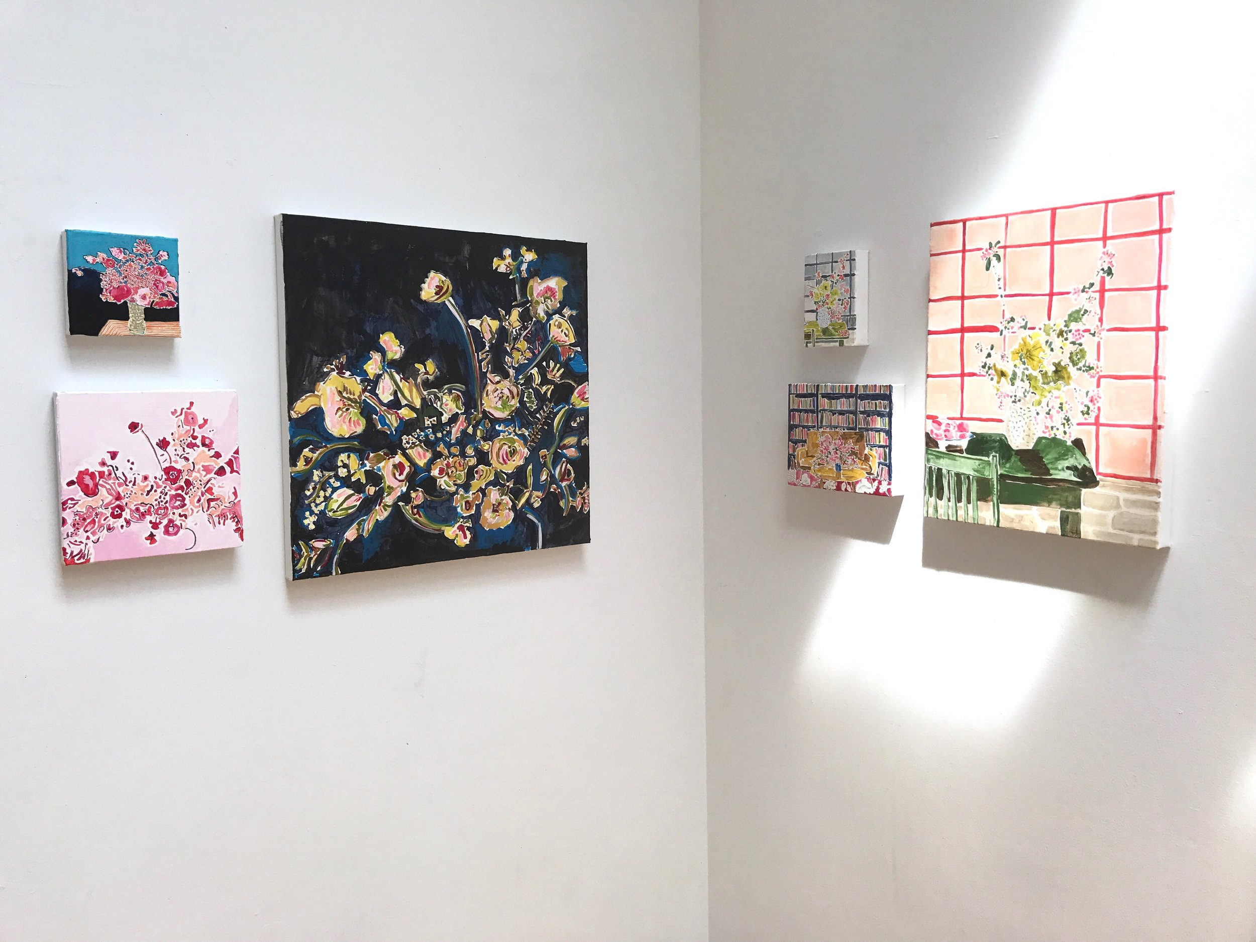 Small interiors and florals on stretched canvas created my first days of the residency.