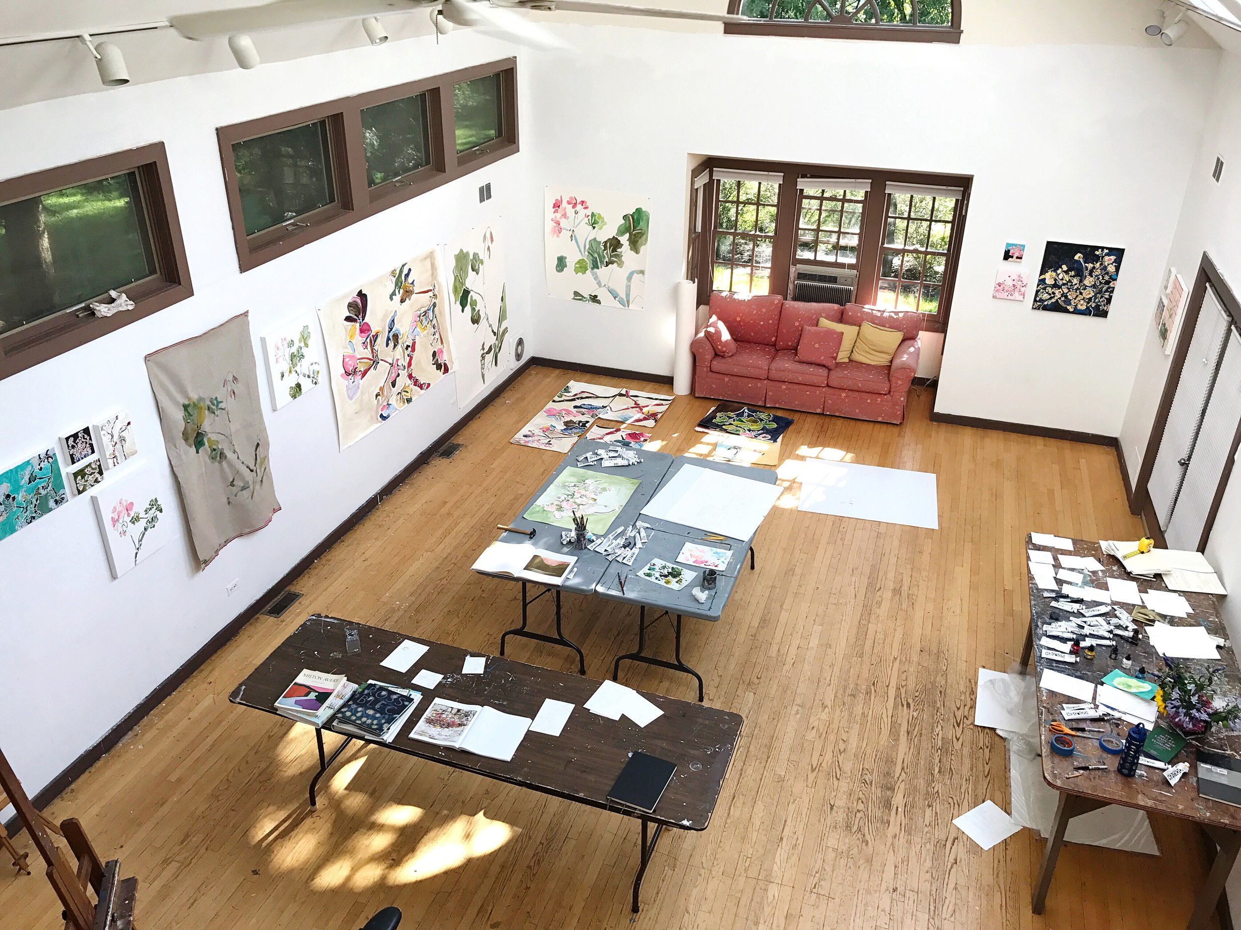 View from the loft of all of the work I created during my time at Ragdale.
