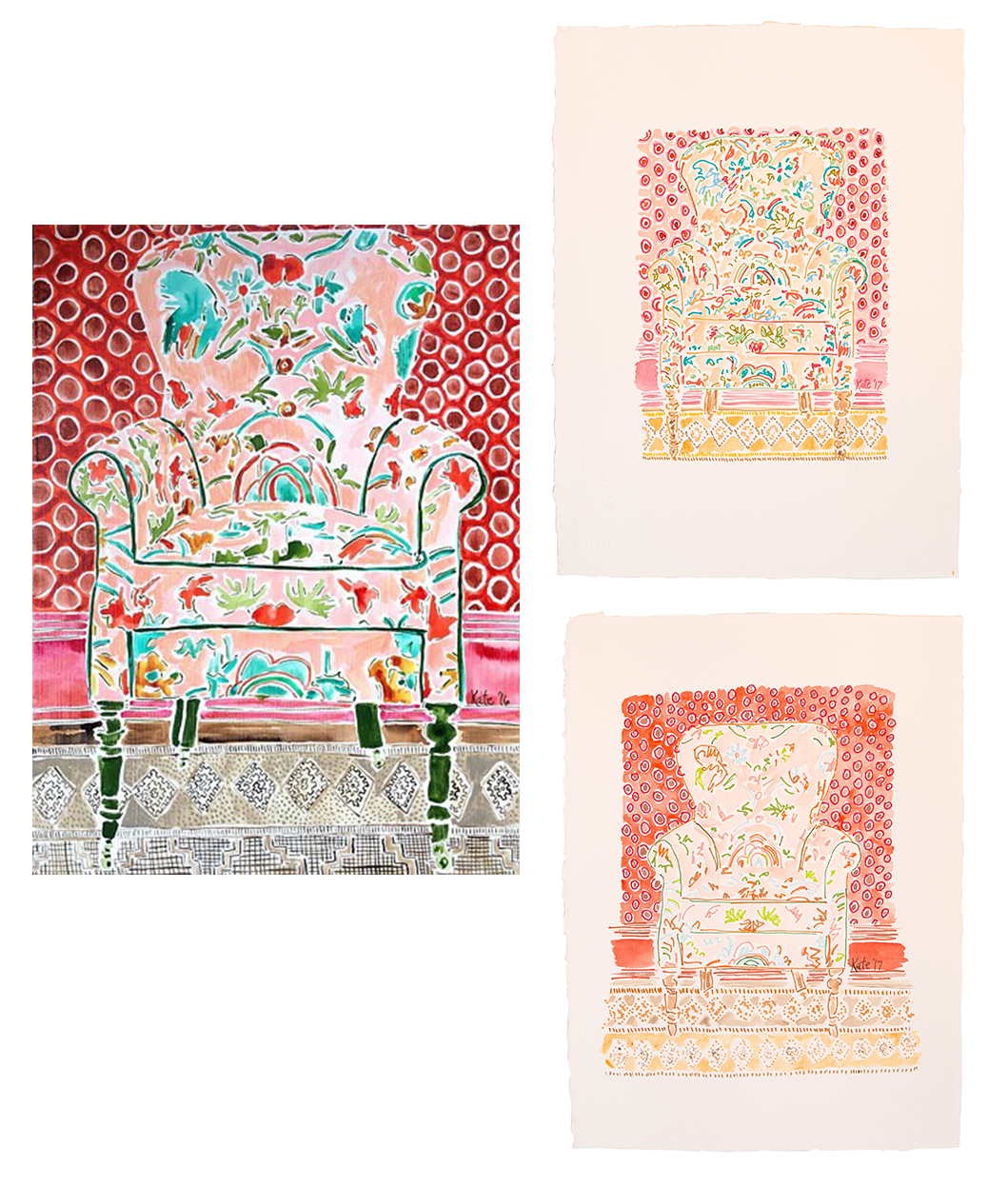 On the left is the painting from 2016 Chair with Red Wallpaper. On the right is the reimagined subject created recently (fall 2017) in marker and watercolor.