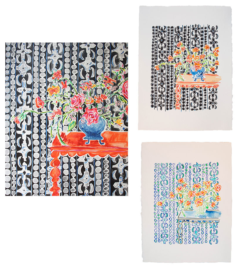 On the left is the painting from 2016 Flowers on Orange Table with Black and White. On the right is the reimagined subject created recently (fall 2017)  in marker and watercolor.