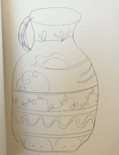 Pencil sketch for pitcher