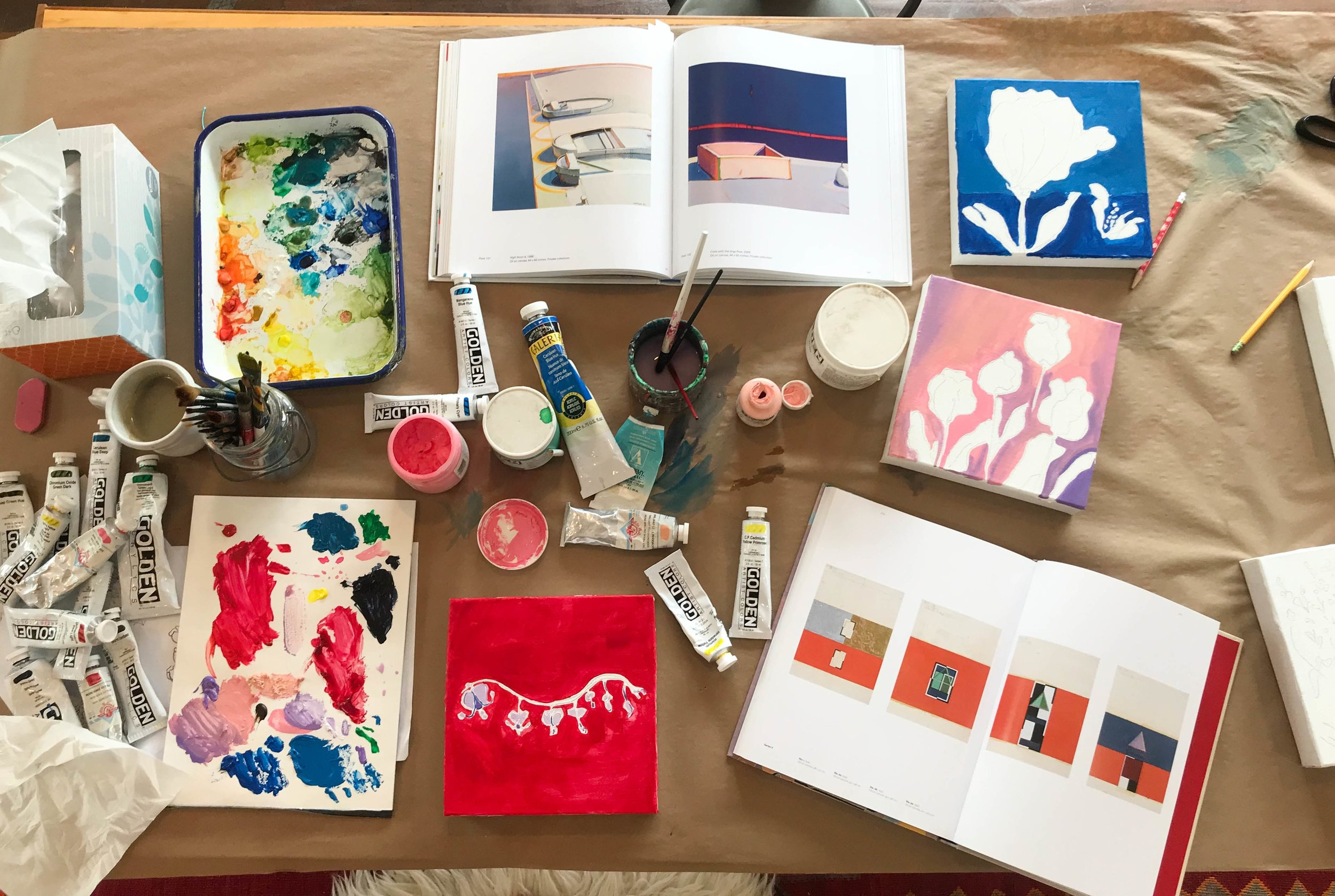 Color palette influenced by  Raimonds Staprans  (top book) and  Hilma af Klint  (lower right book).