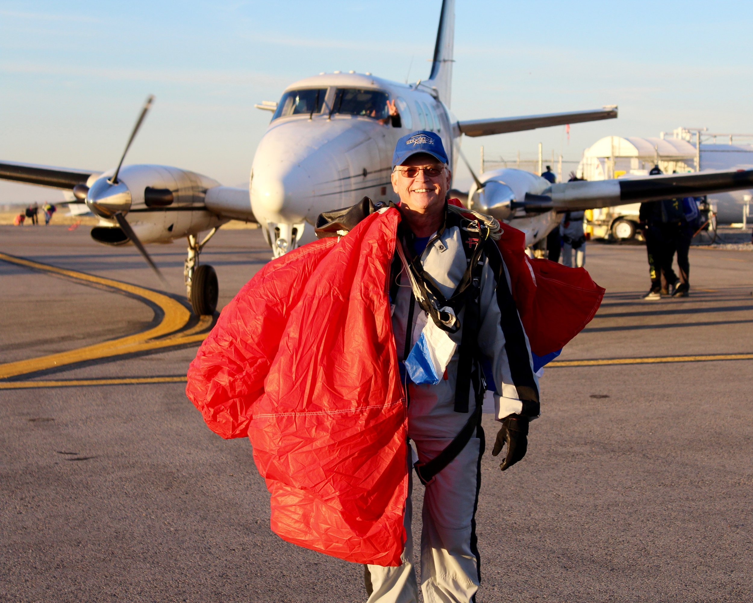 Jack Guthrie makes his first skydive as a recreational skydiver after retiring.