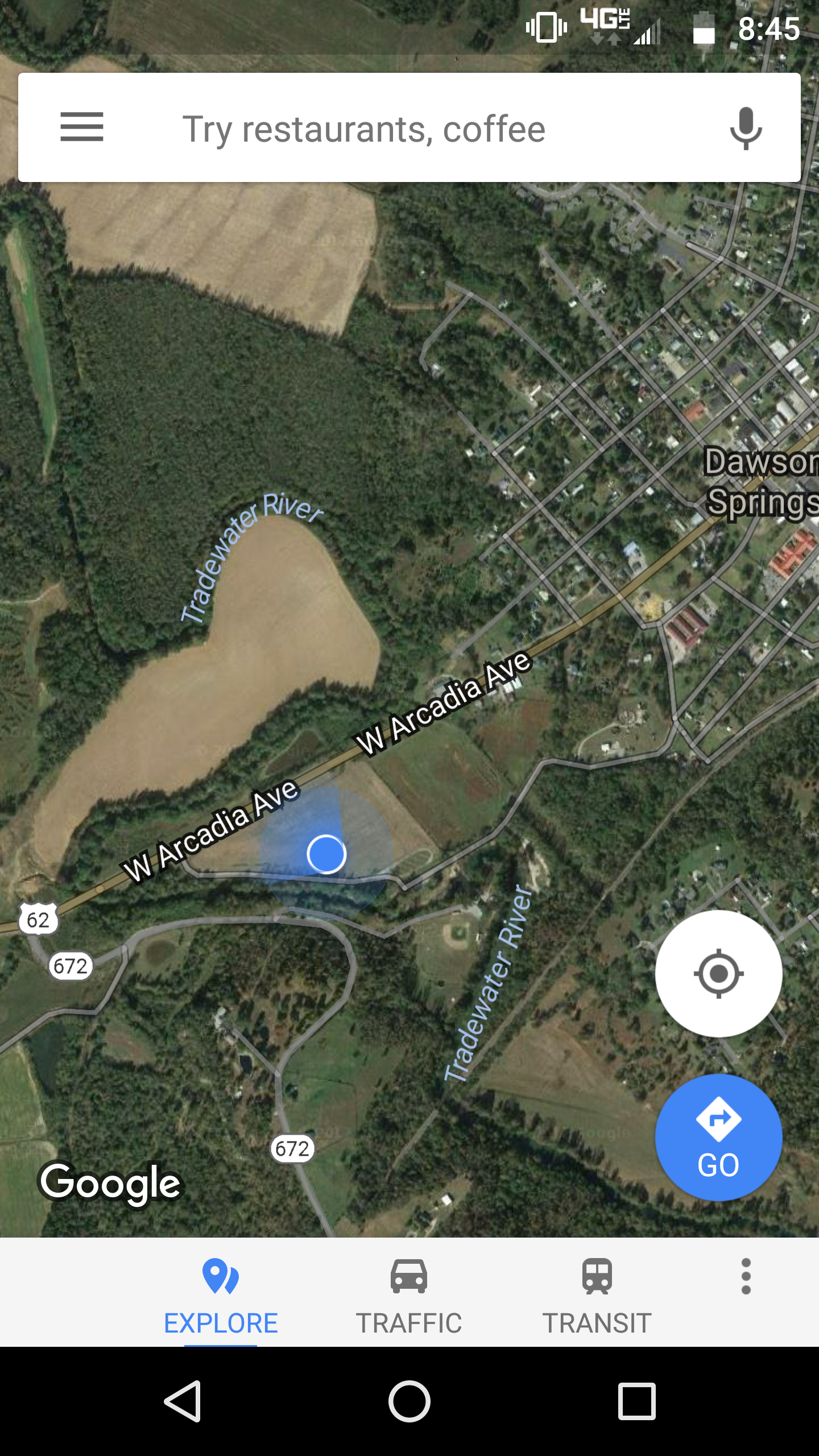 The blue dot marks my location on the map. We camped in a large field just outside of town across the Tradewater River from an old minor league baseball field.