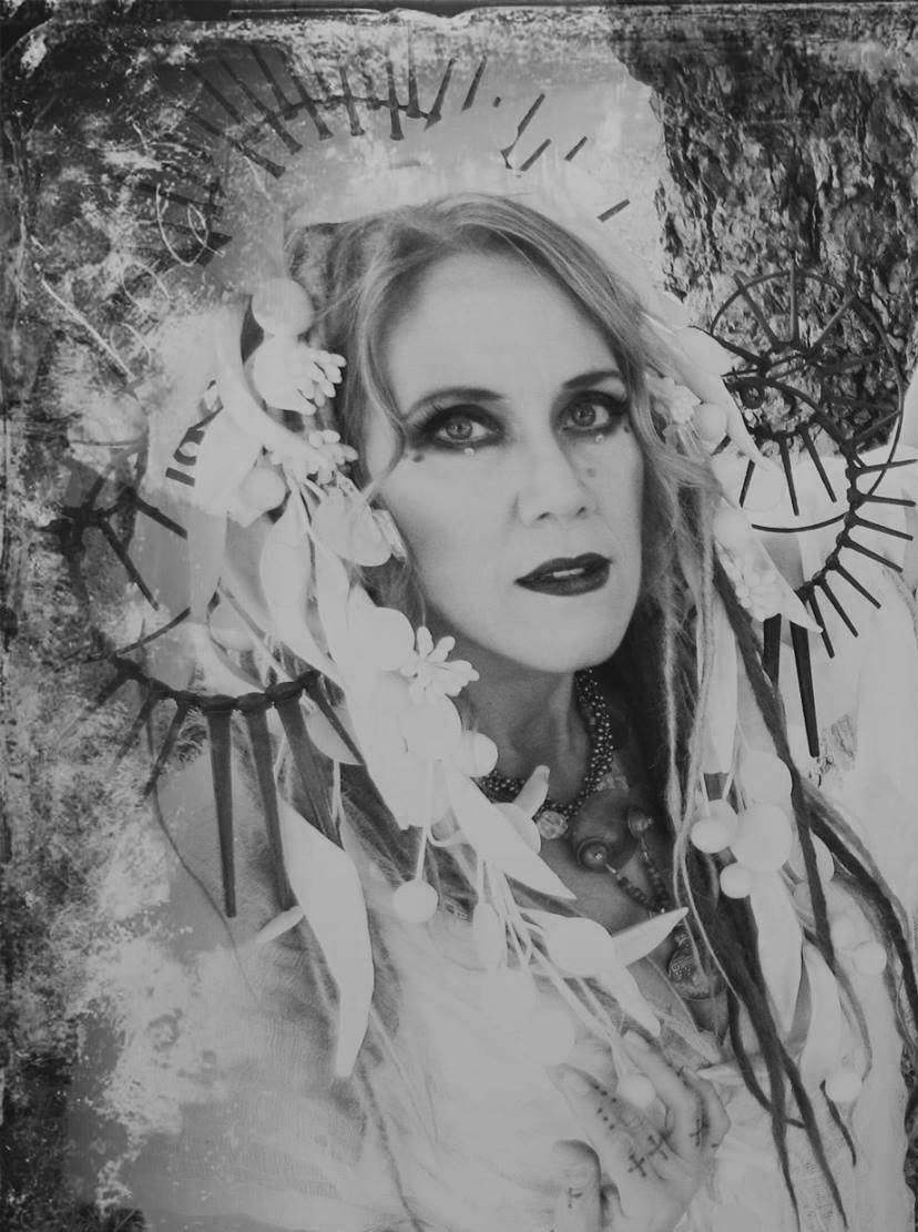 """Tears of Epione"" encaustic & metal headdress by Lisa Donohue   . photo by Kook Teflon"