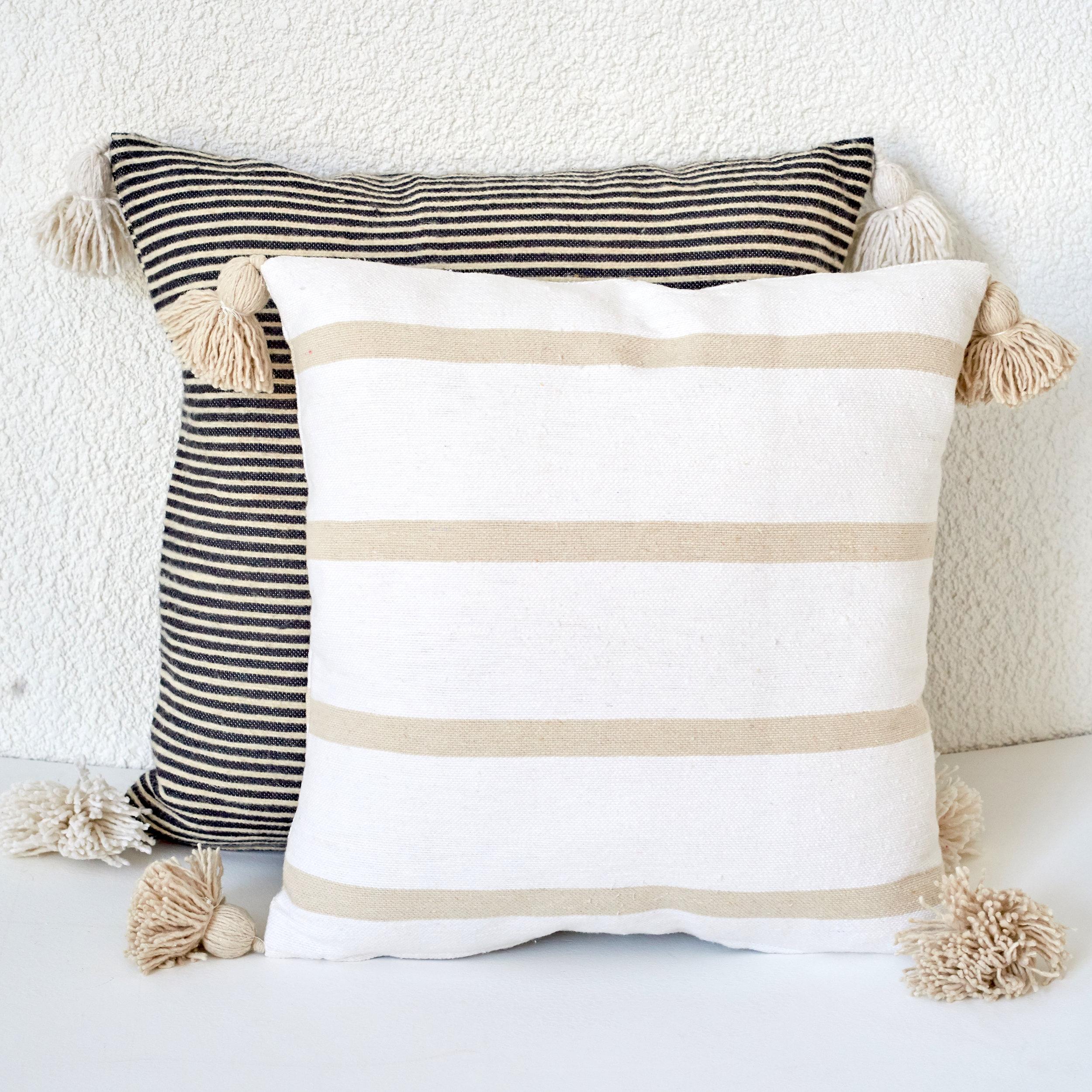 Stripe Natural Cushion With Pom Pom.jpg