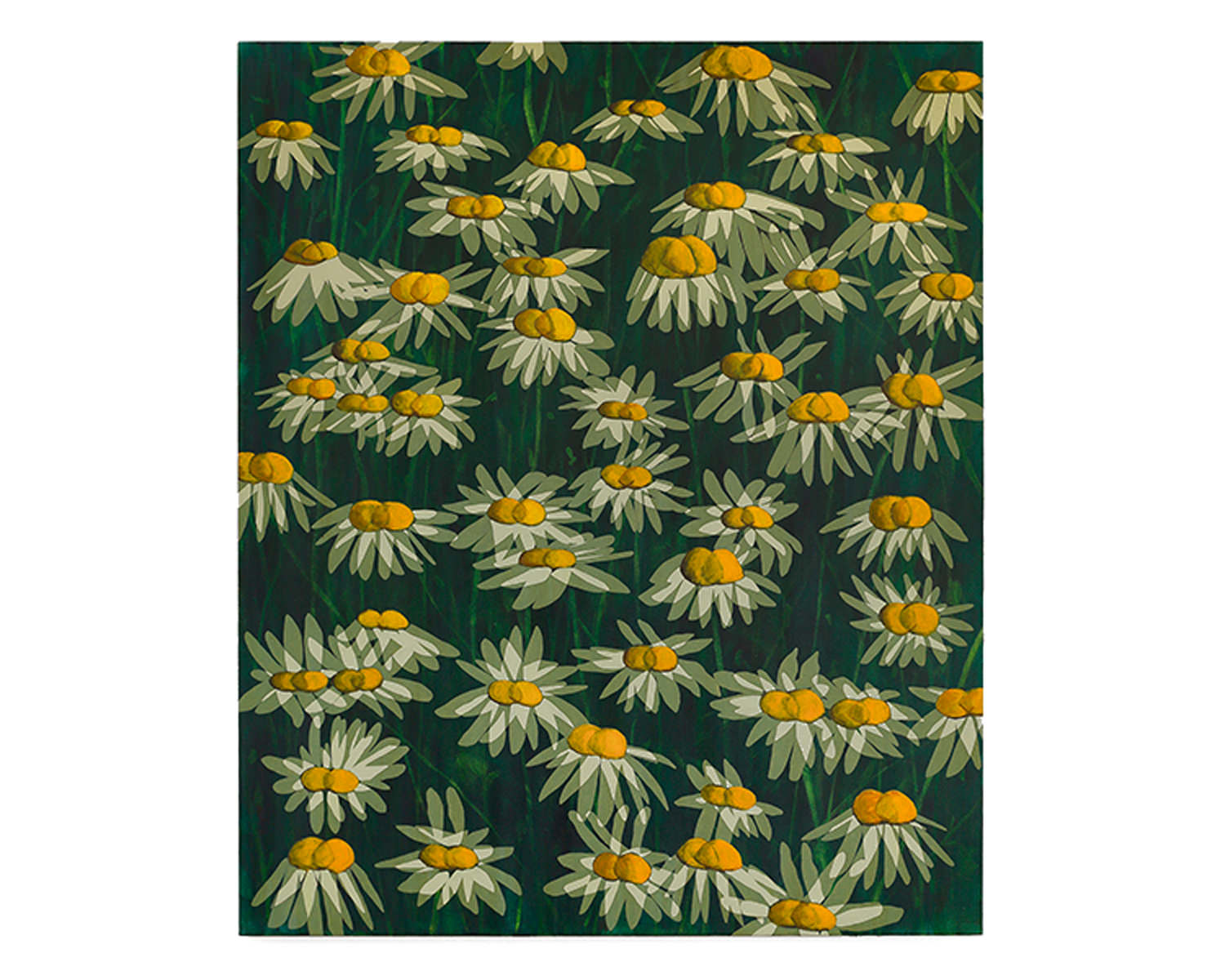 Ryan Mrozowski, Untitled (Shifted Flowers), 2016, Acrylic on linen, 60 x 50""