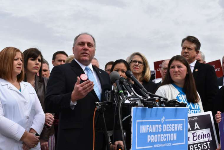 Rep. Steve Scalise (R - LA) speaking about the Born-Alive Bill at a press conference.    Source: Catholic News Agency.