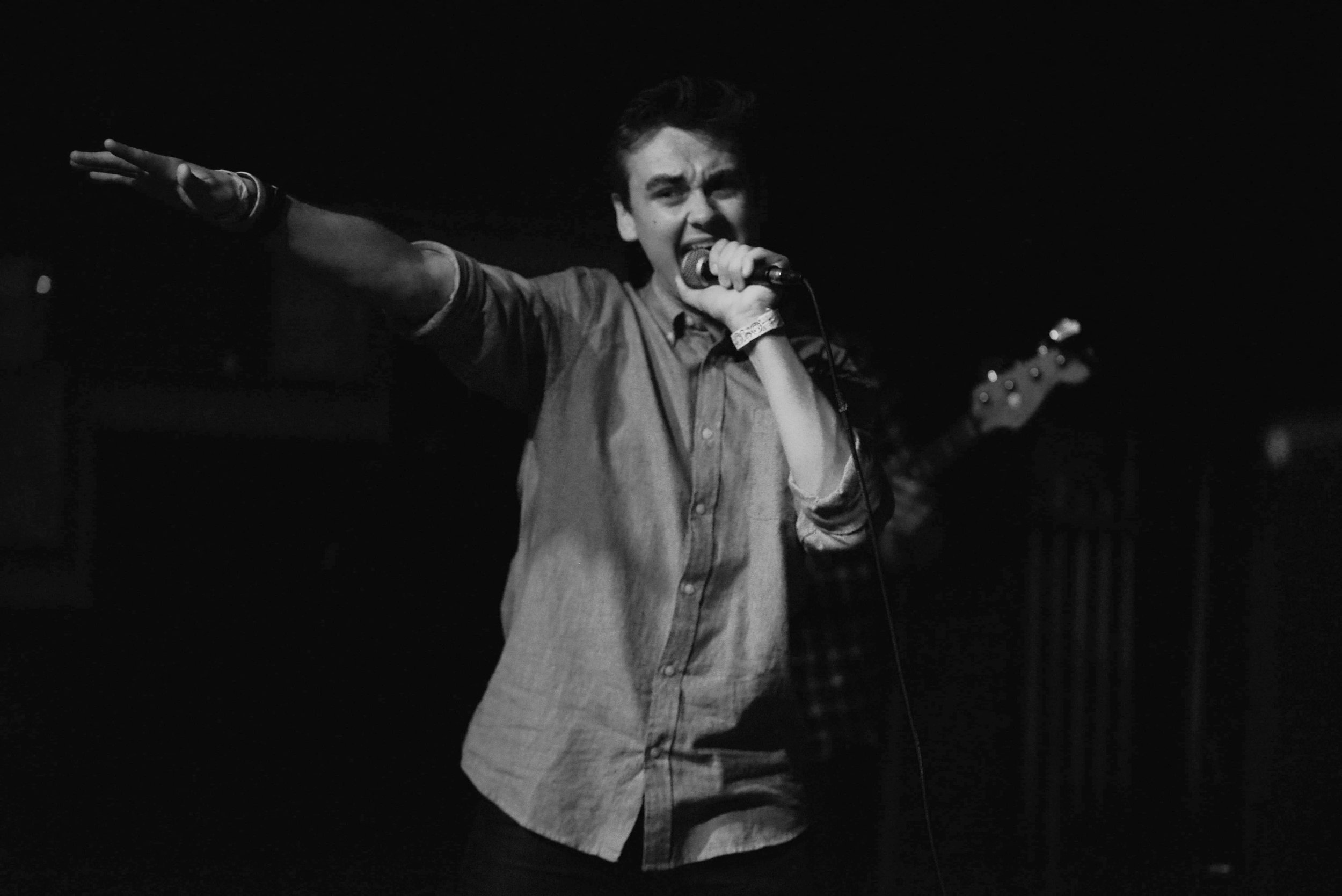 Jack Throwing it Out to the Crowd (Black and White) Better.jpg