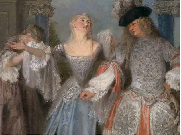 """""""The French Comedians,"""" Antoine Watteau, detail"""