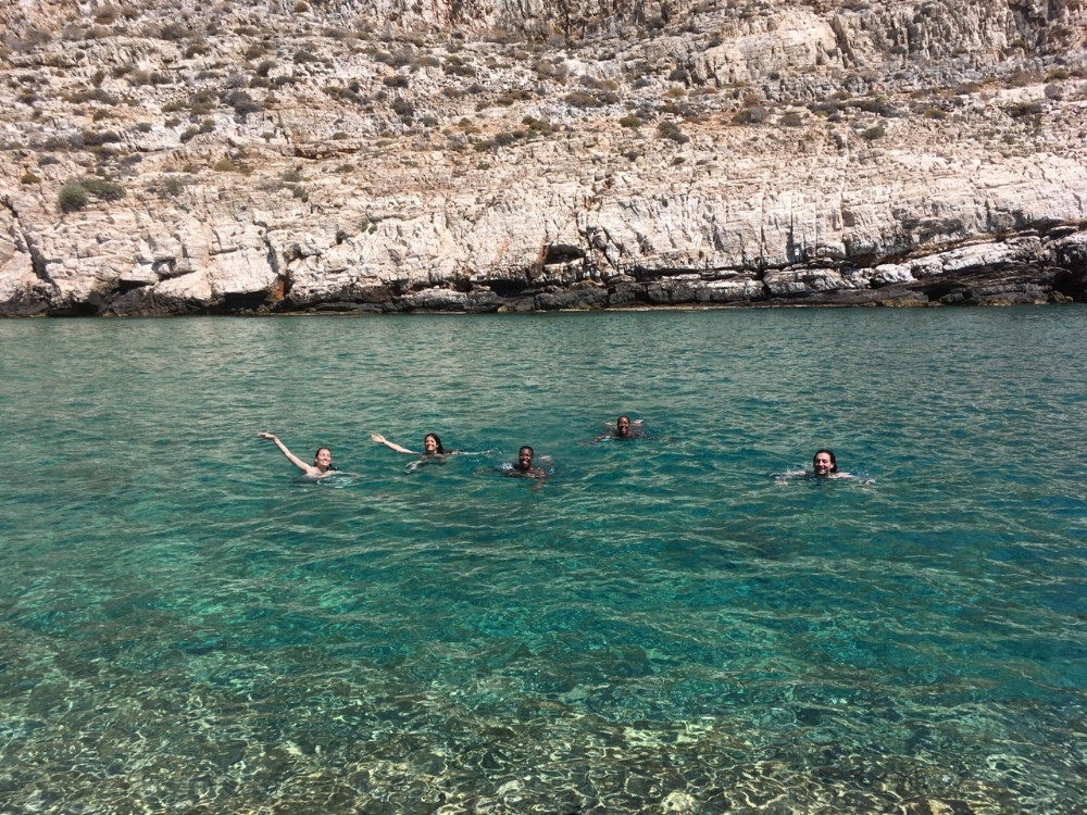 Some workshop participants frolic in the gorgeous Aegean Sea.