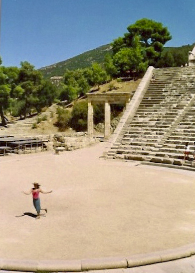 Judith tries out the stage on her first visit to the ancient theater of Epidaurus.