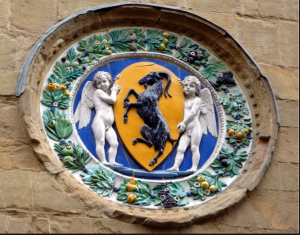 This is the vintage Italian relief plate and the inspiration for the colors chosen for the dining area of private residence in Peterborough, NH.