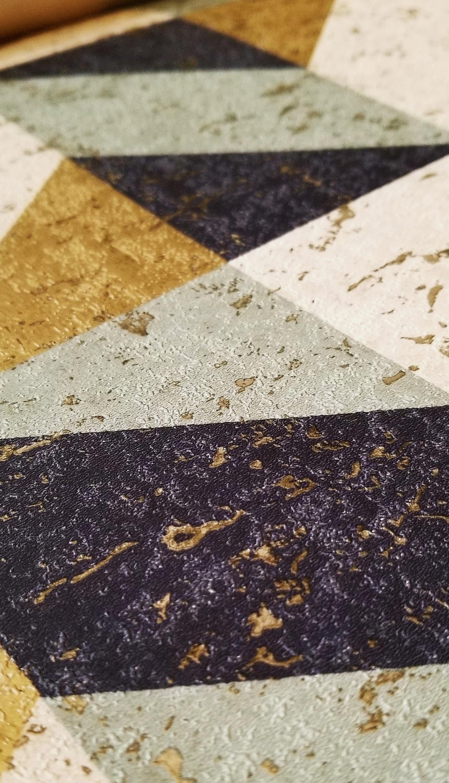 Metallic Beetle A-Street - Cerium Concrete Geometric Wallpaper