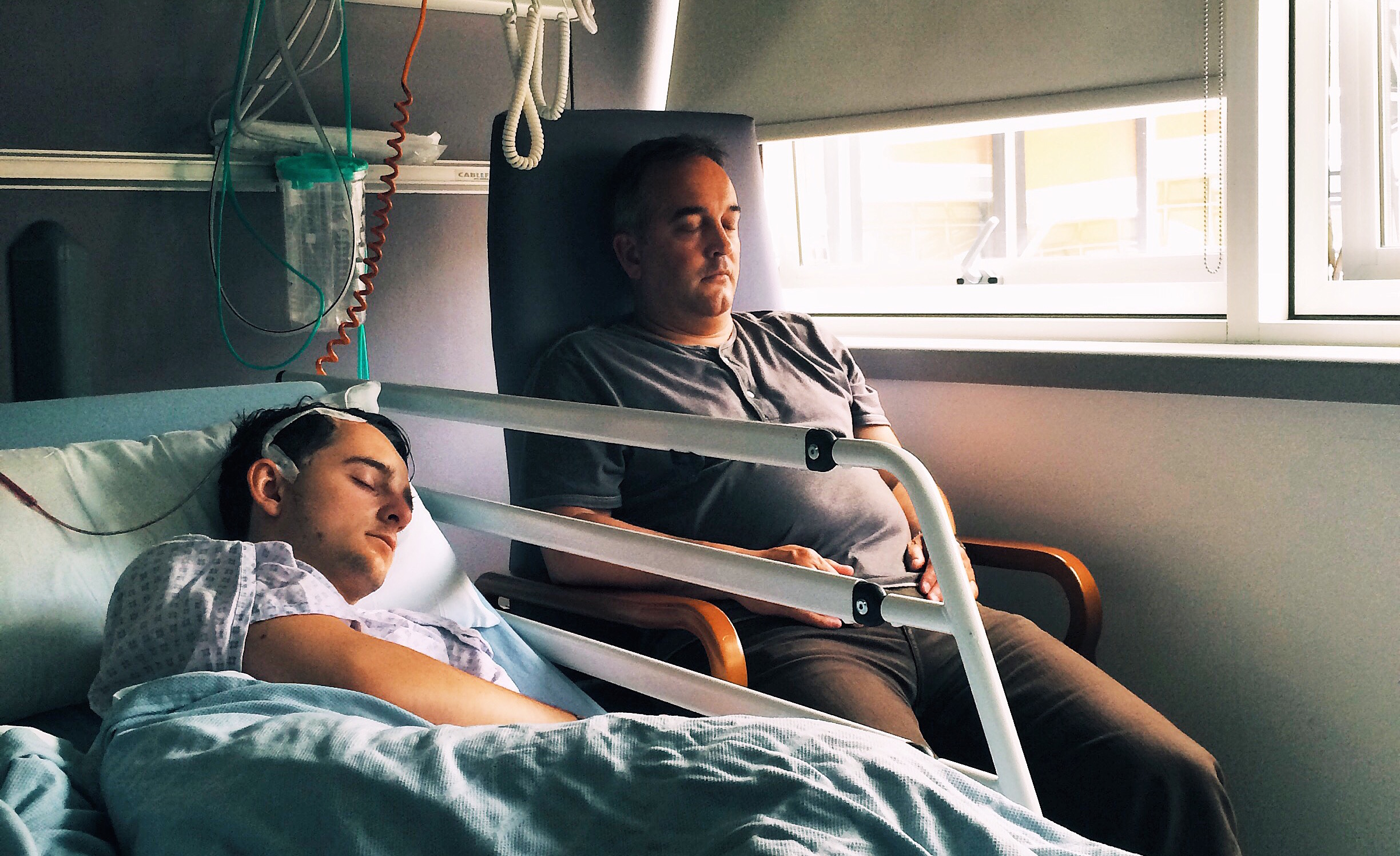 Jordan and Dad after brain surgery in June 2015.