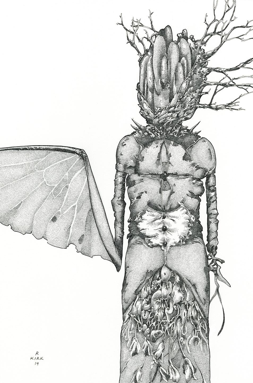 """Sinistral Sister   2014, ink on paper, 12"""" x 8"""""""