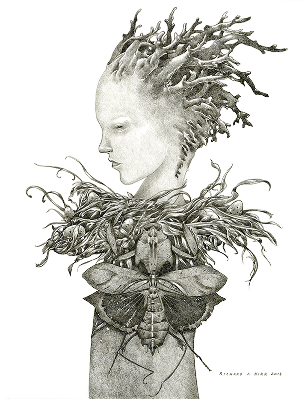 "Phantom Limb   2013, ink on paper, 16"" x 12"""