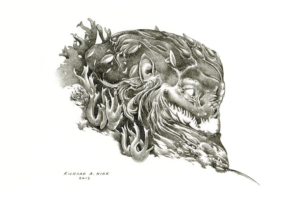 """Staghorn   2013, ink on paper, 9"""" x 12"""""""