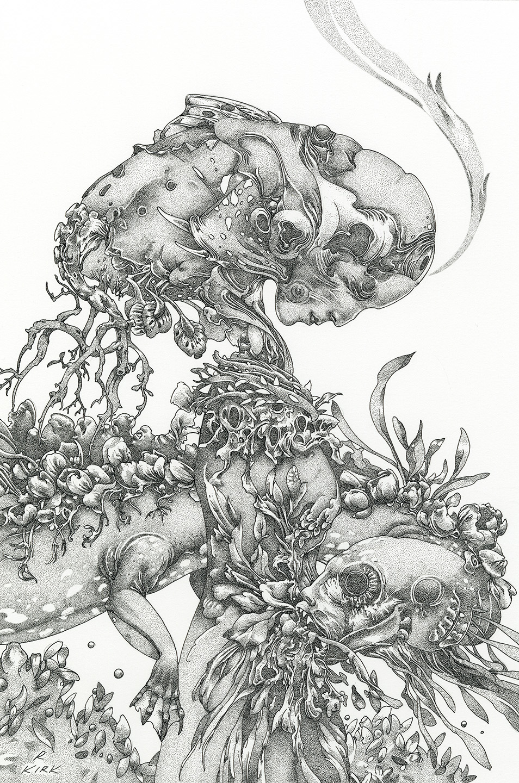 "POLLEN, 2019, ink on paper, 12"" x 9"""