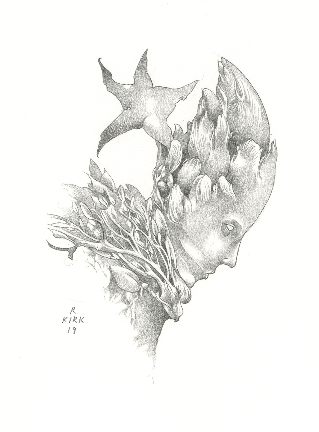 "Starstruck, 2019, graphite, approximately 8"" x 7"""