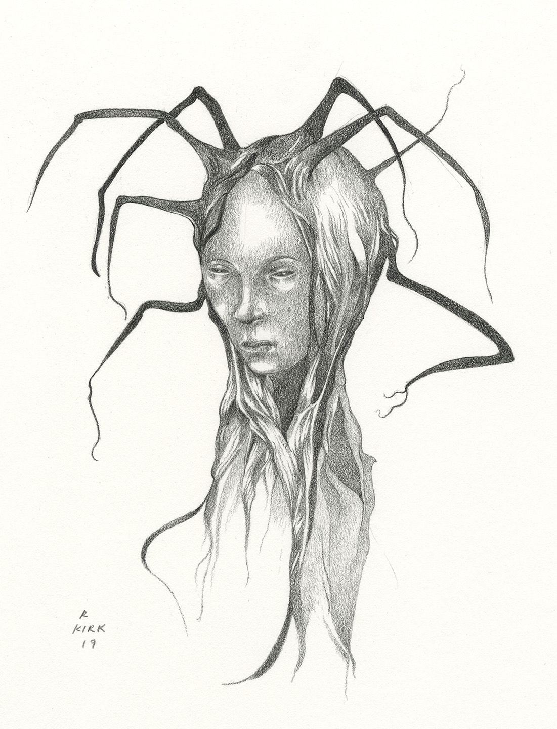 Arachnia, 2019, carbon pencil, approximately 9 x 7
