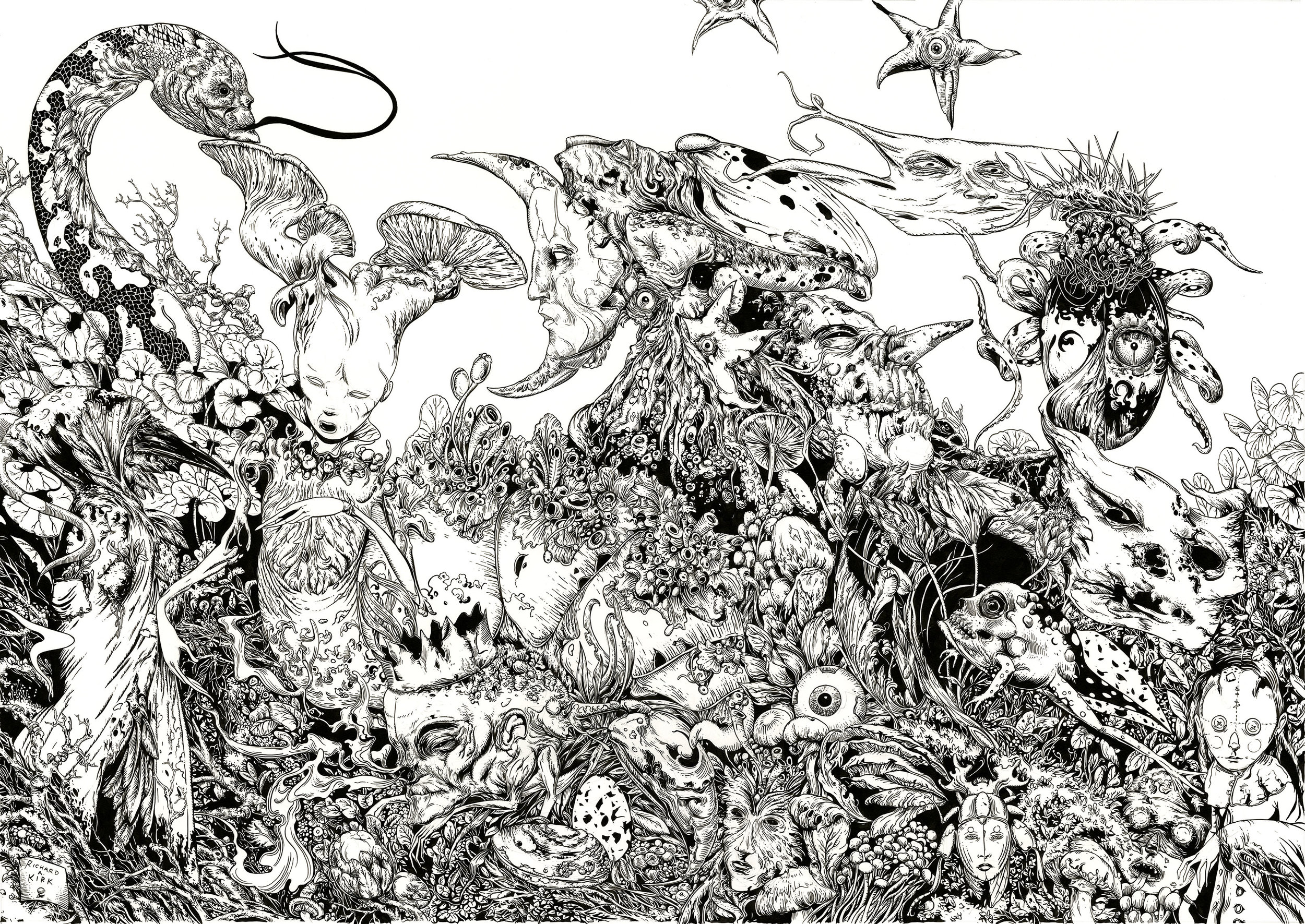"Garden of the Moon, 2019, ink on paper, 27"" x 19"""