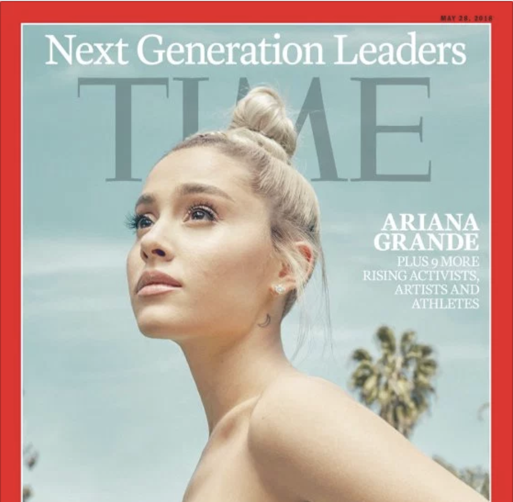 ARIANA GRANDE: TIME INC.   ARIANA GRANDE IS HAPPY, AND IT'S IMPORTANT TO HER THAT PEOPLE KNOW THAT. STILL, IT WOULD BE HARD TO MISS HER HAPPINESS ON THIS SUNNY SPRING DAY AT A RAMSHACKLE HOUSE IN BEVERLY HILLS. IT BEAMS OUT OF HER AS SHE SPRAWLS ON THE LAWN, MURMURING IN BABY TALK TO TOULOUSE, HER RESCUE BEAGLE-CHIHUAHUA, AND IT SUFFUSES THE WAY SHE VOGUES OUT OF THE HOUSE INTO THE YARD, SPINNING AND TWIRLING IN A FRILLY GRAY TULLE DRESS.