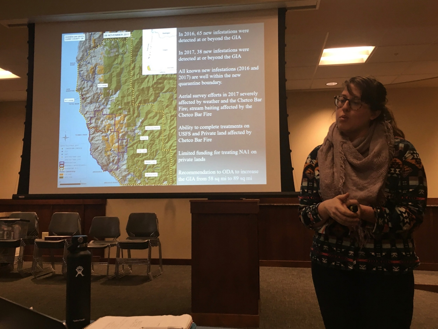 Sarah Navarro, a Forest Pathologist at the Oregon Department of Forestry, discussing Sudden Oak Death in Oregon.