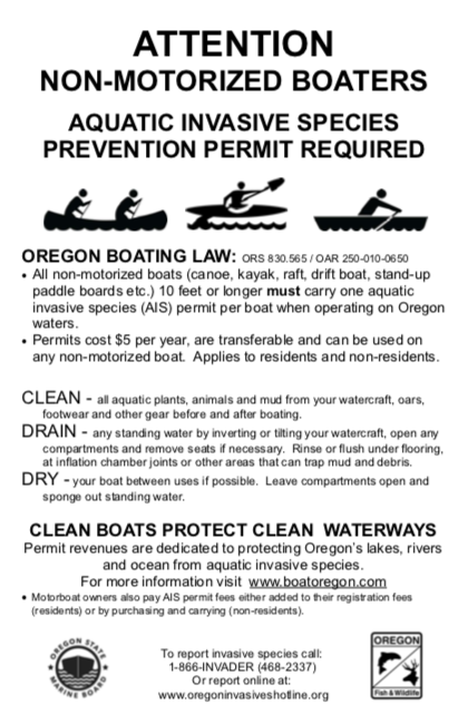 Click to View/Download the non-motorized boaters AIS Prevention Permit information flyer