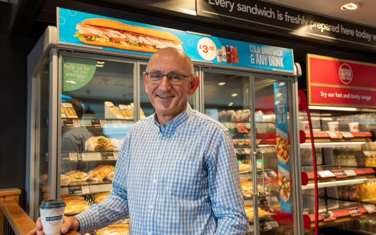 Greggs CEO Roger Whiteside at the Kingsway branch of the food outlet CREDIT: ANDREW CROWLEY