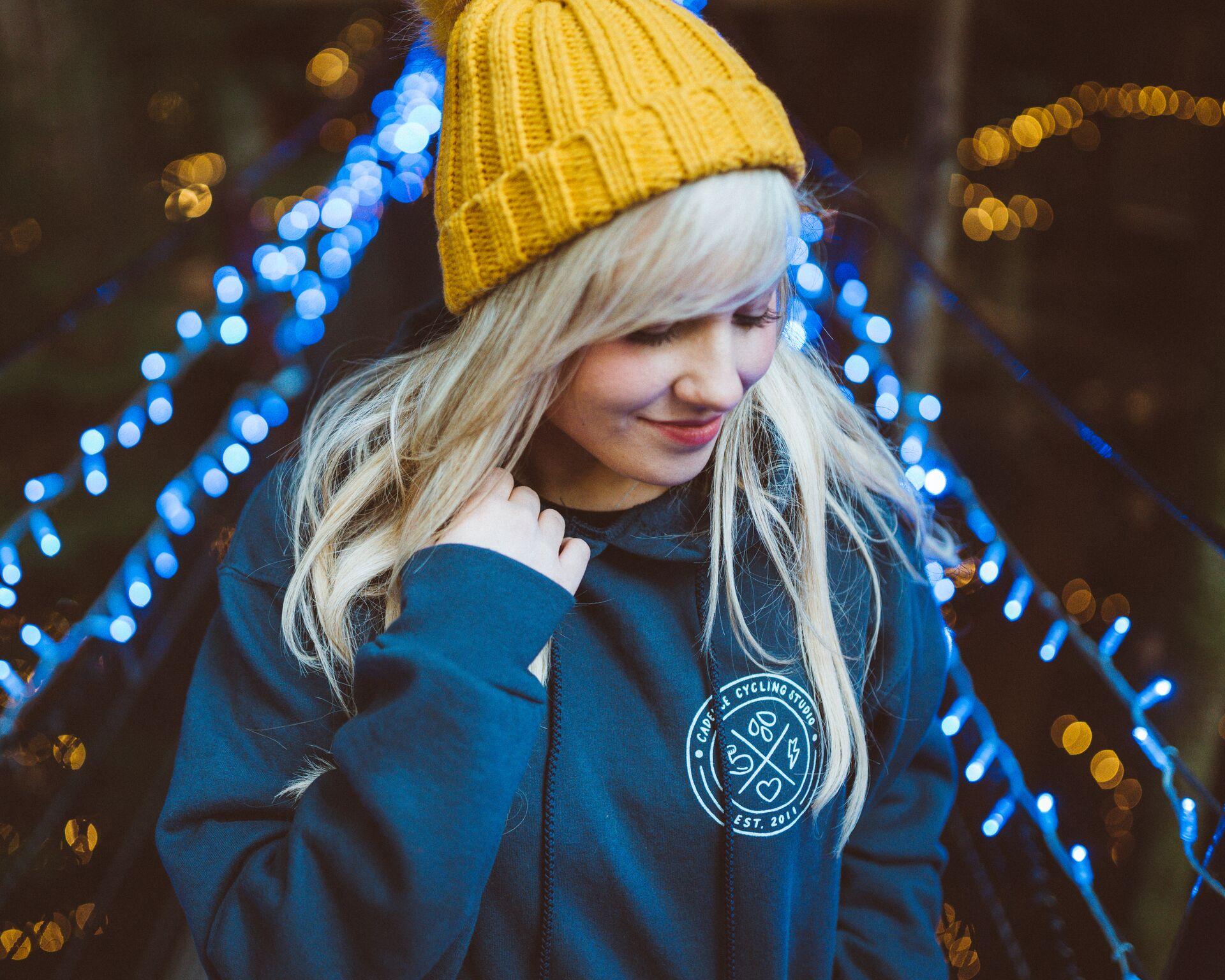 Cadence hoodie in blue, $65