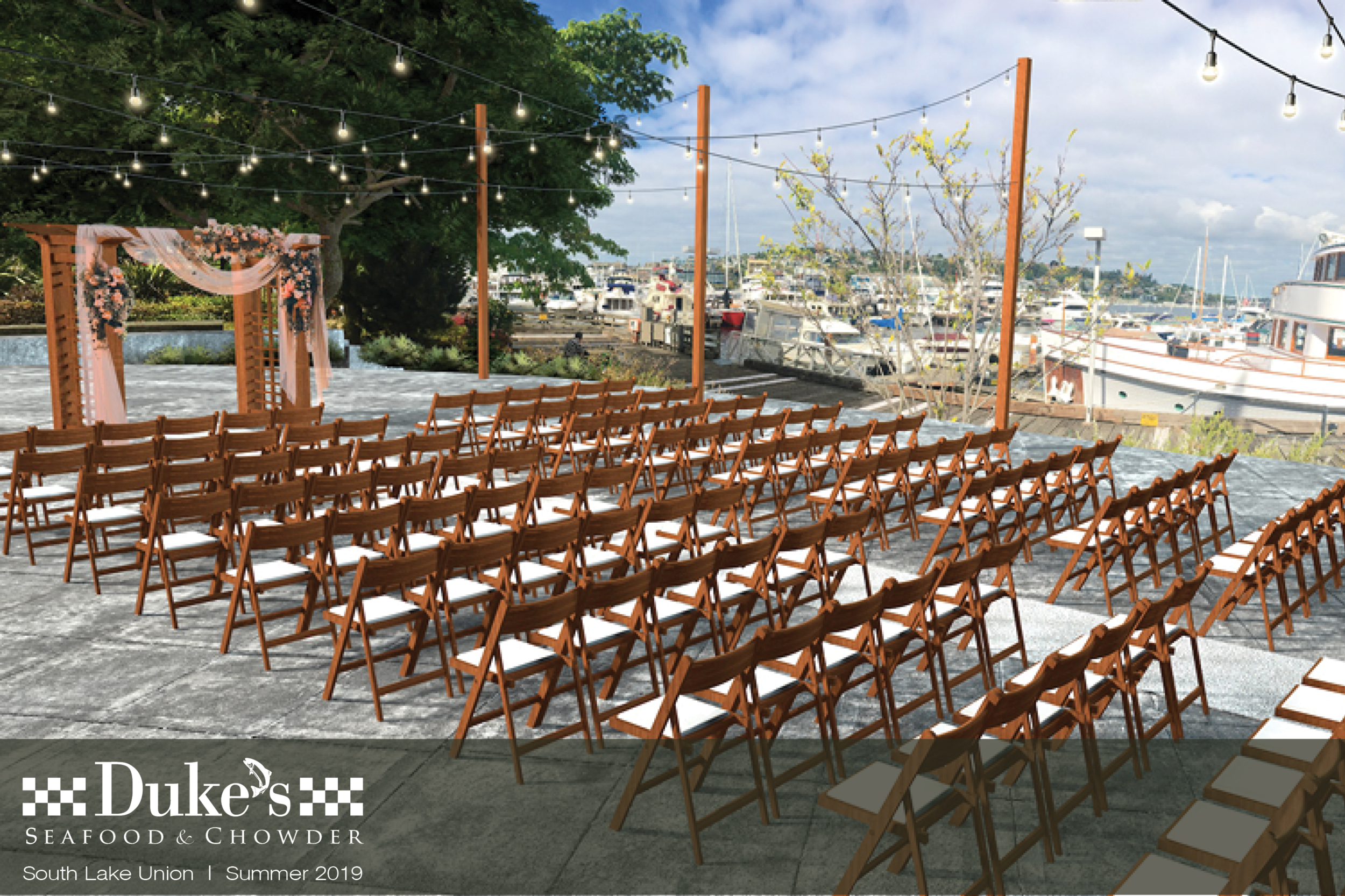 """Dockside at Duke's   206-257-1586   E  MAIL   Say """"I Do"""" with a view. Celebrate your special day at Seattle's newest venue while enjoying award-winning dining and """"Duketails"""" by Dukes Seafood. 50-250 guests."""